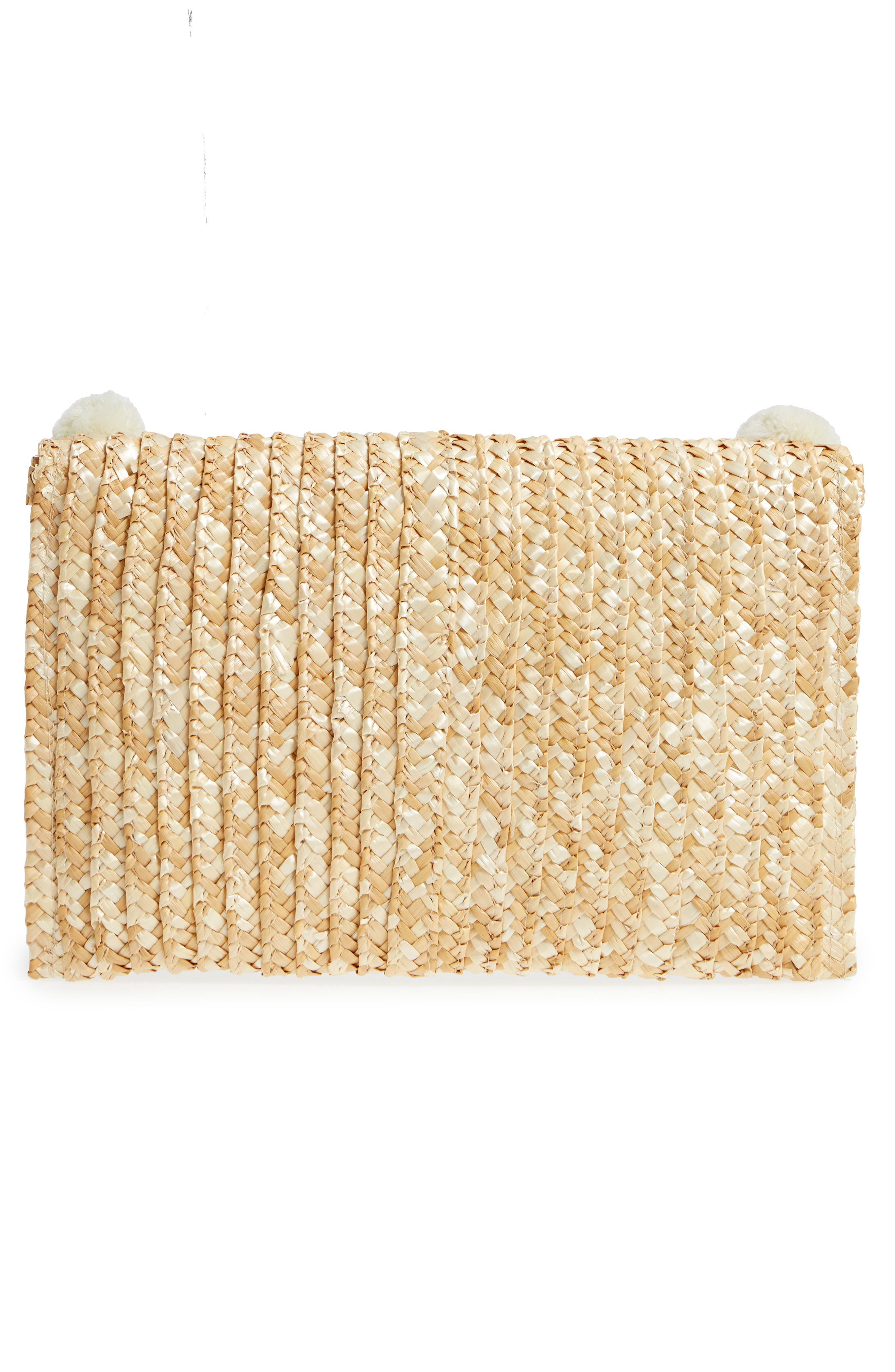 Fortuna Straw Clutch,                             Alternate thumbnail 3, color,                             Natural
