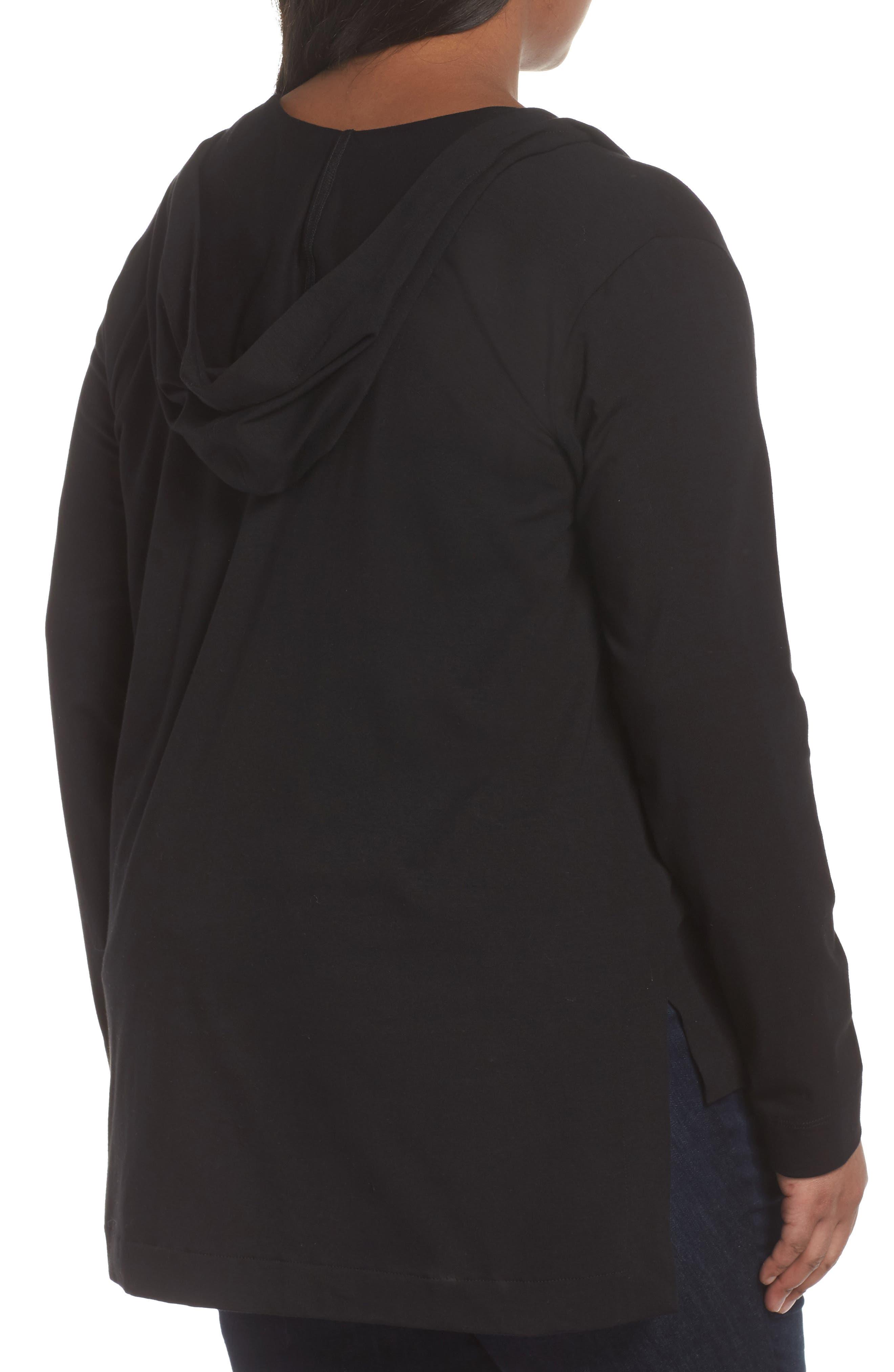 Stretch Organic Cotton Hooded Cardigan,                             Alternate thumbnail 2, color,                             Black