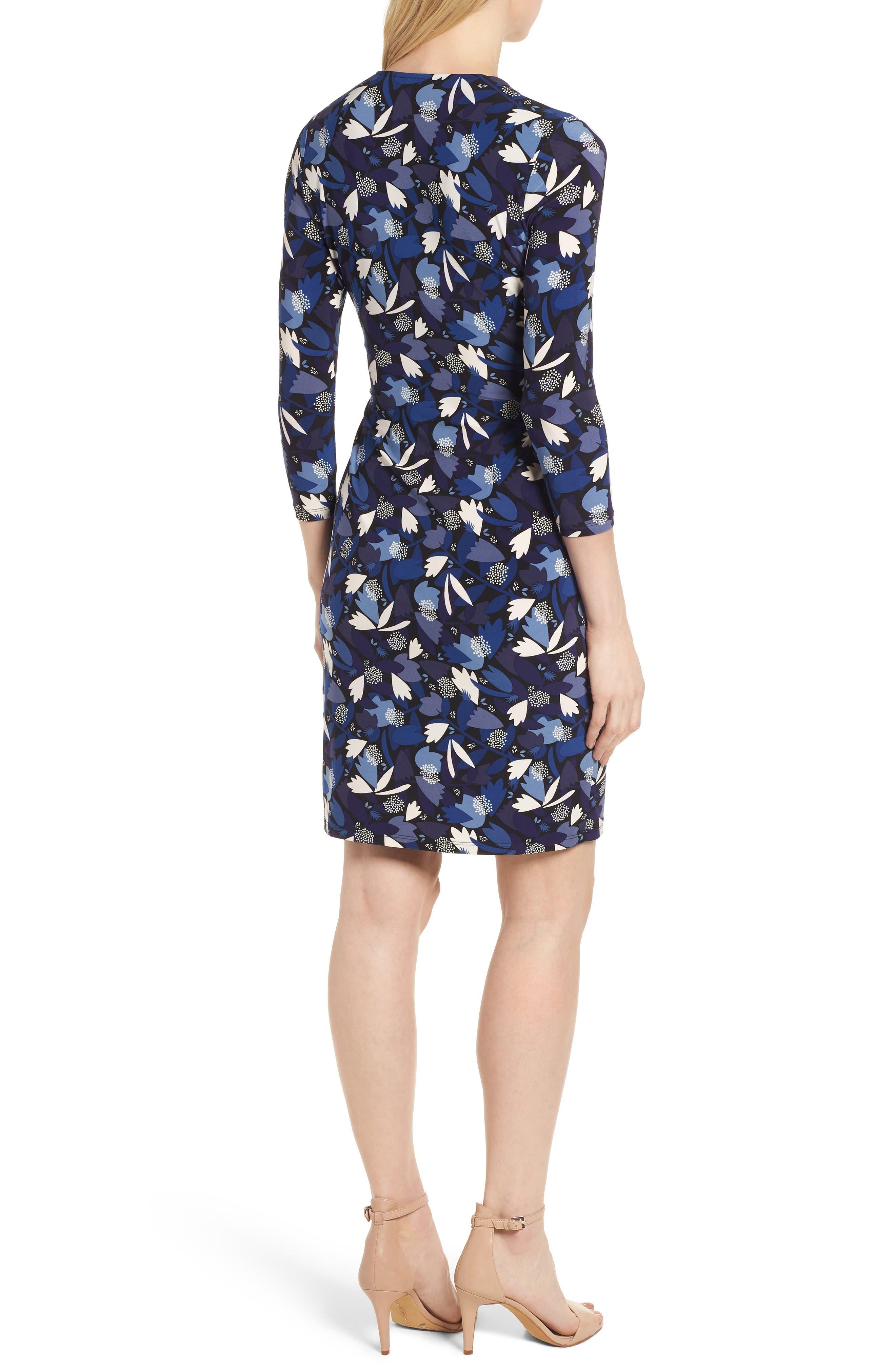 New York Amalfi Print Classic Wrap Dress,                             Alternate thumbnail 2, color,                             Black/ Monaco Combo