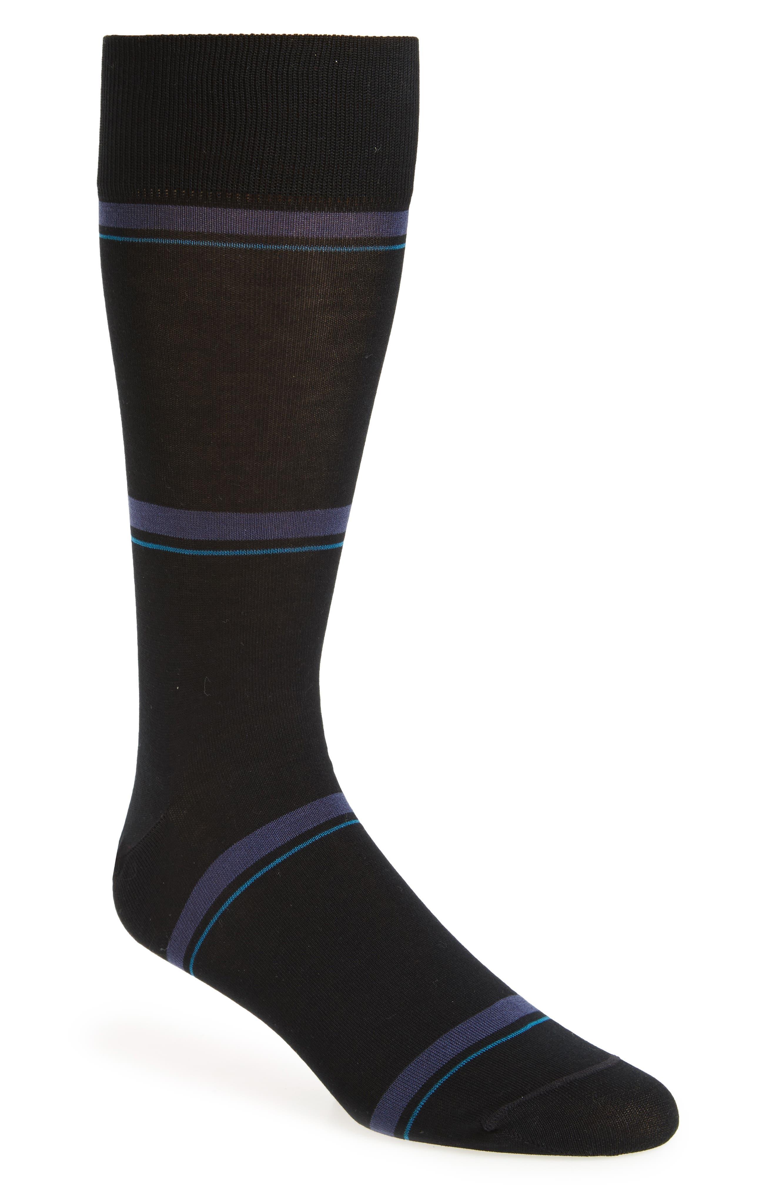 Double Banded Socks,                         Main,                         color, Black/ Blue