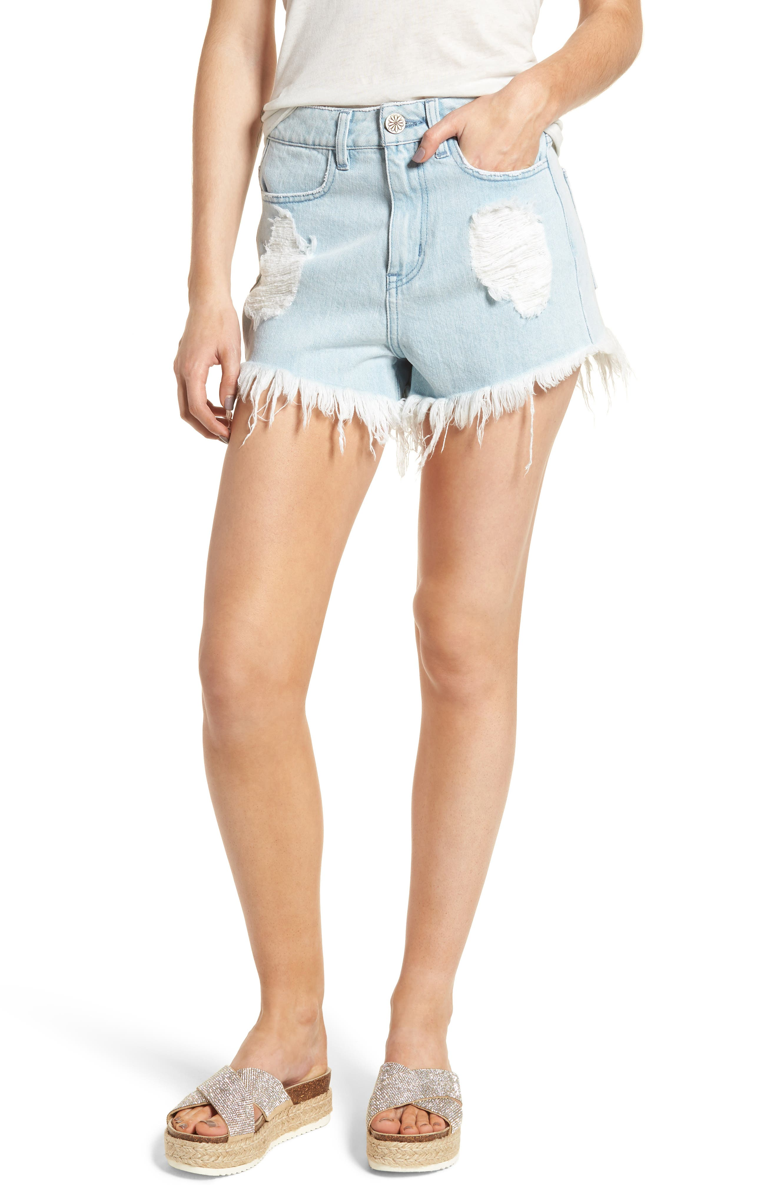 Show Me Your Mumu Wyoming High Waist Cutoff Denim Shorts (Whitewater with Cactus)