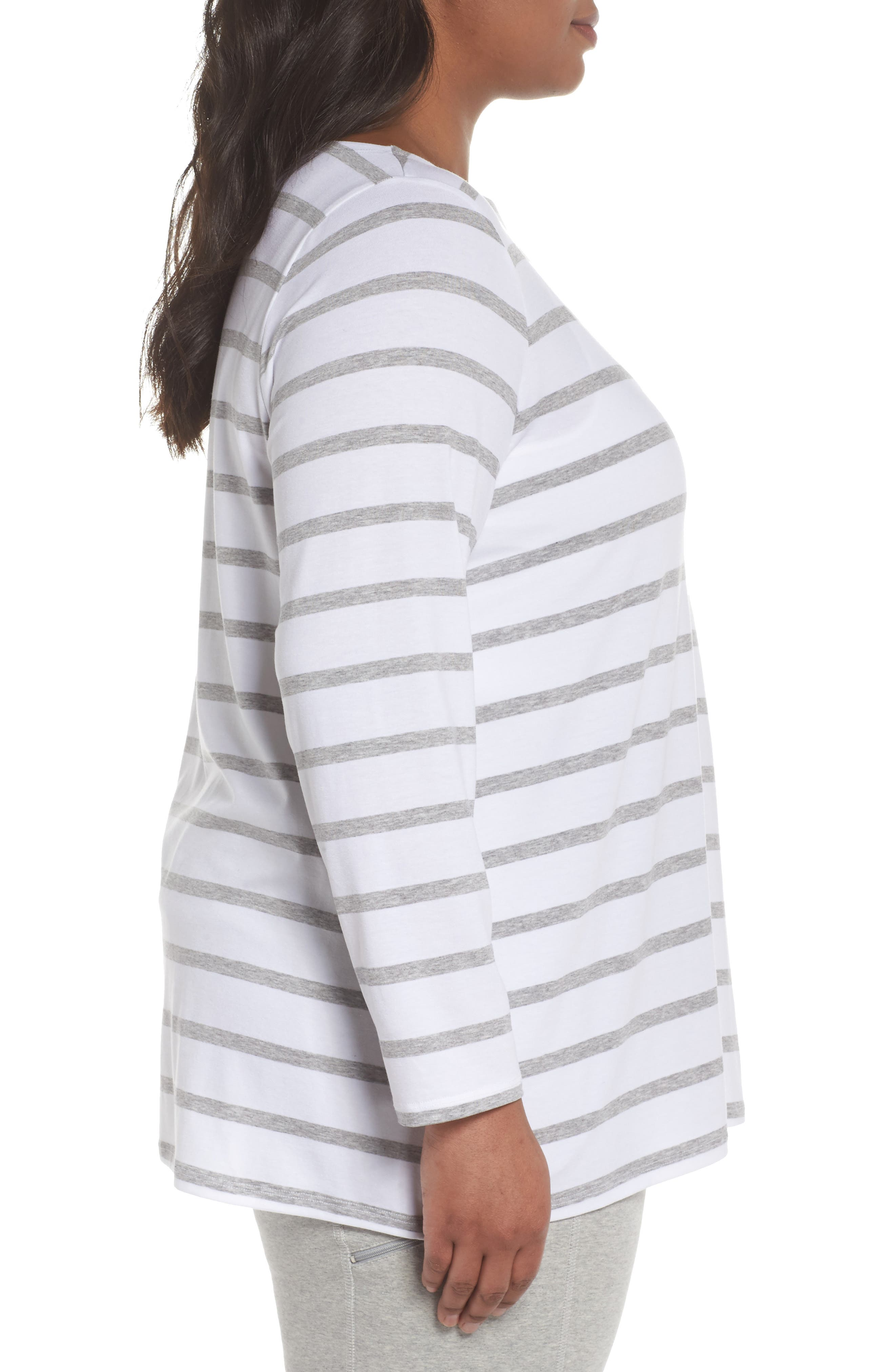 Stripe Stretch Tencel<sup>®</sup> Lyocell Top,                             Alternate thumbnail 3, color,                             White/ Dark Pearl