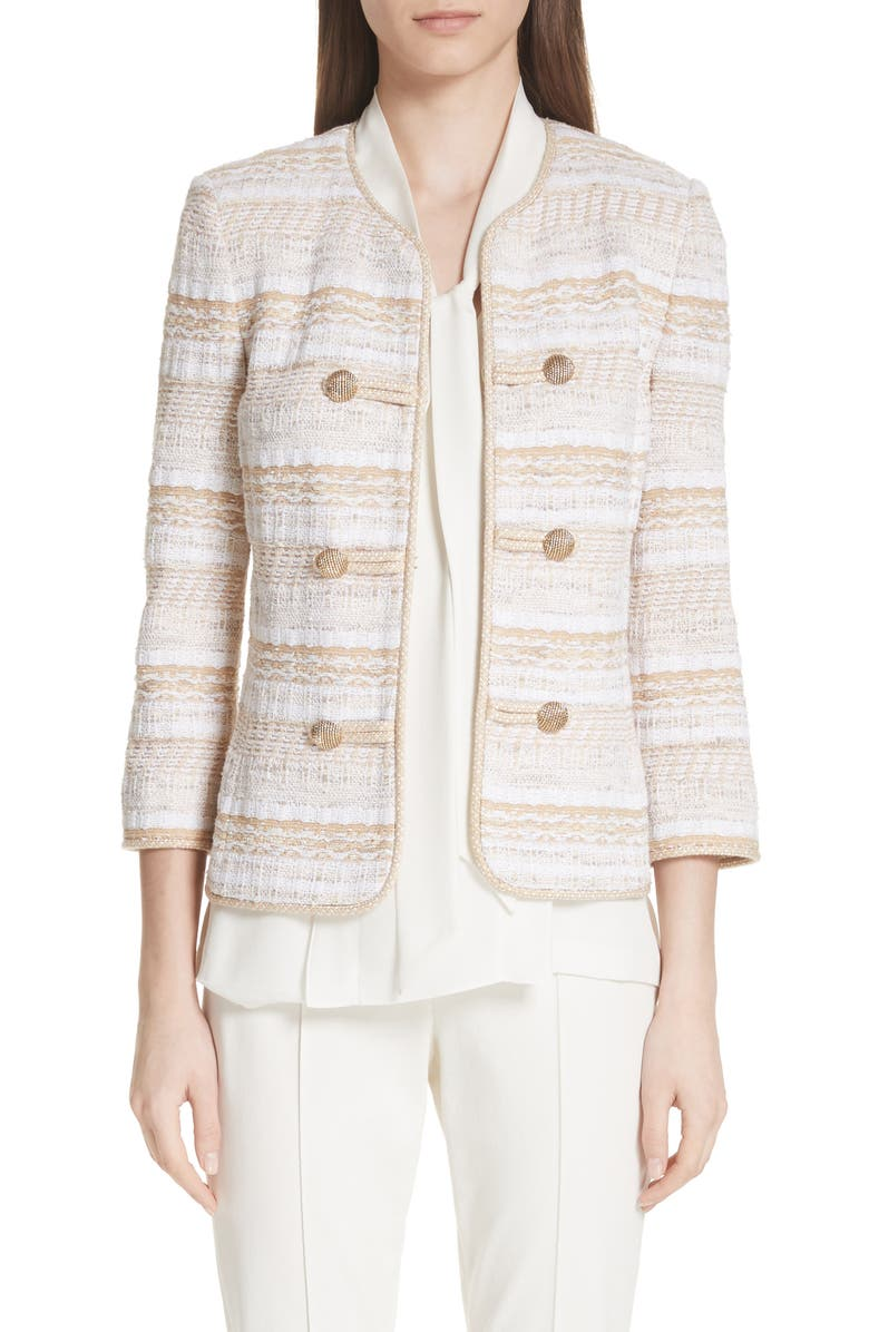 Speckled Stripe Tweed Knit Jacket