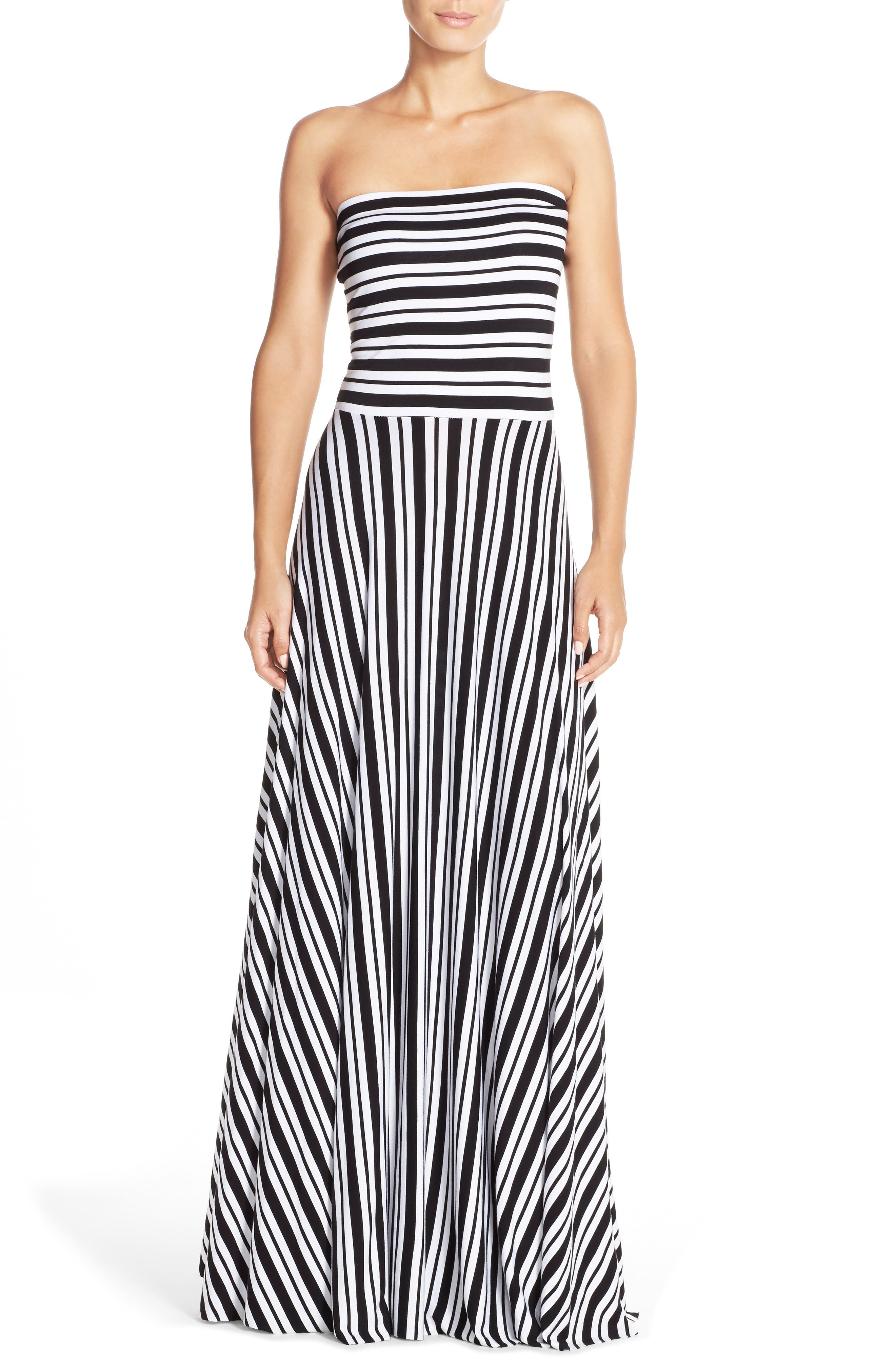 Stripe Strapless Maxi Dress,                             Main thumbnail 1, color,                             Black/ White Stripe