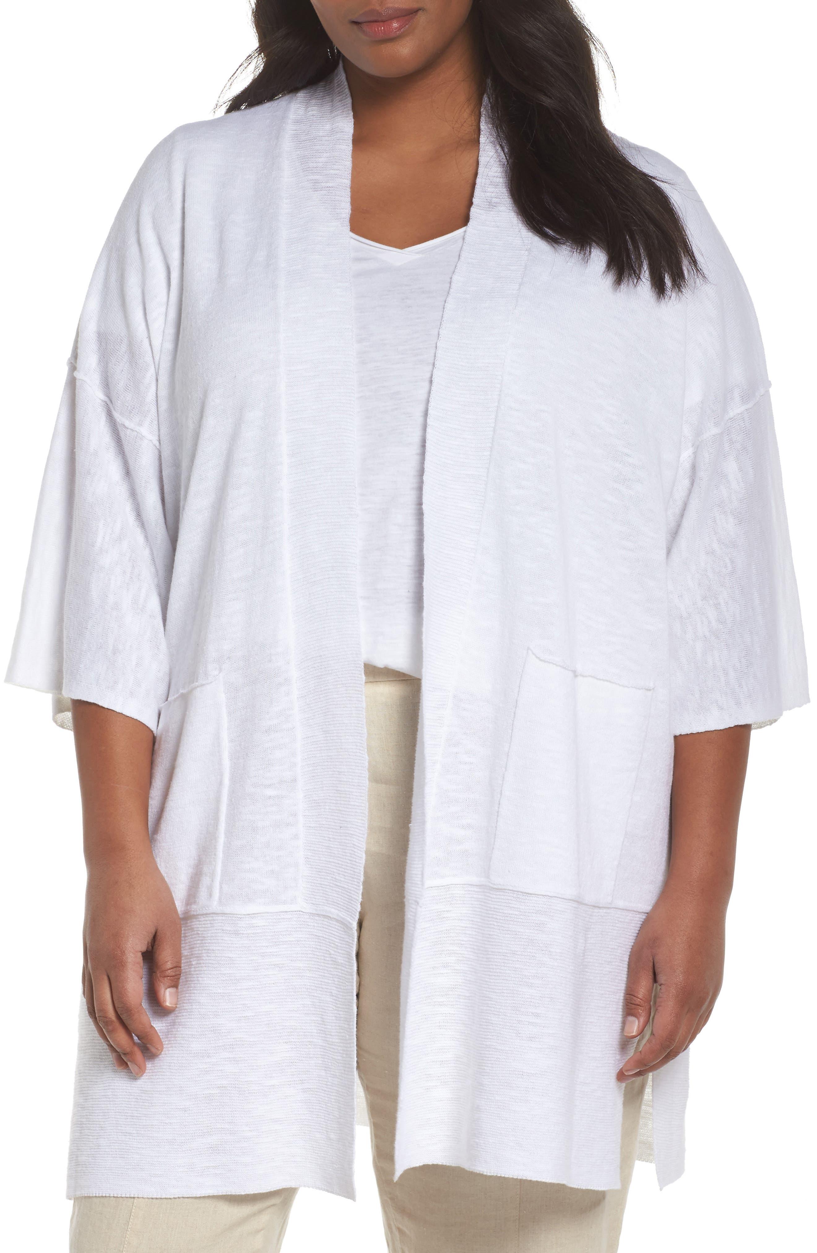Organic Linen & Cotton Kimono Cardigan,                             Main thumbnail 1, color,                             White