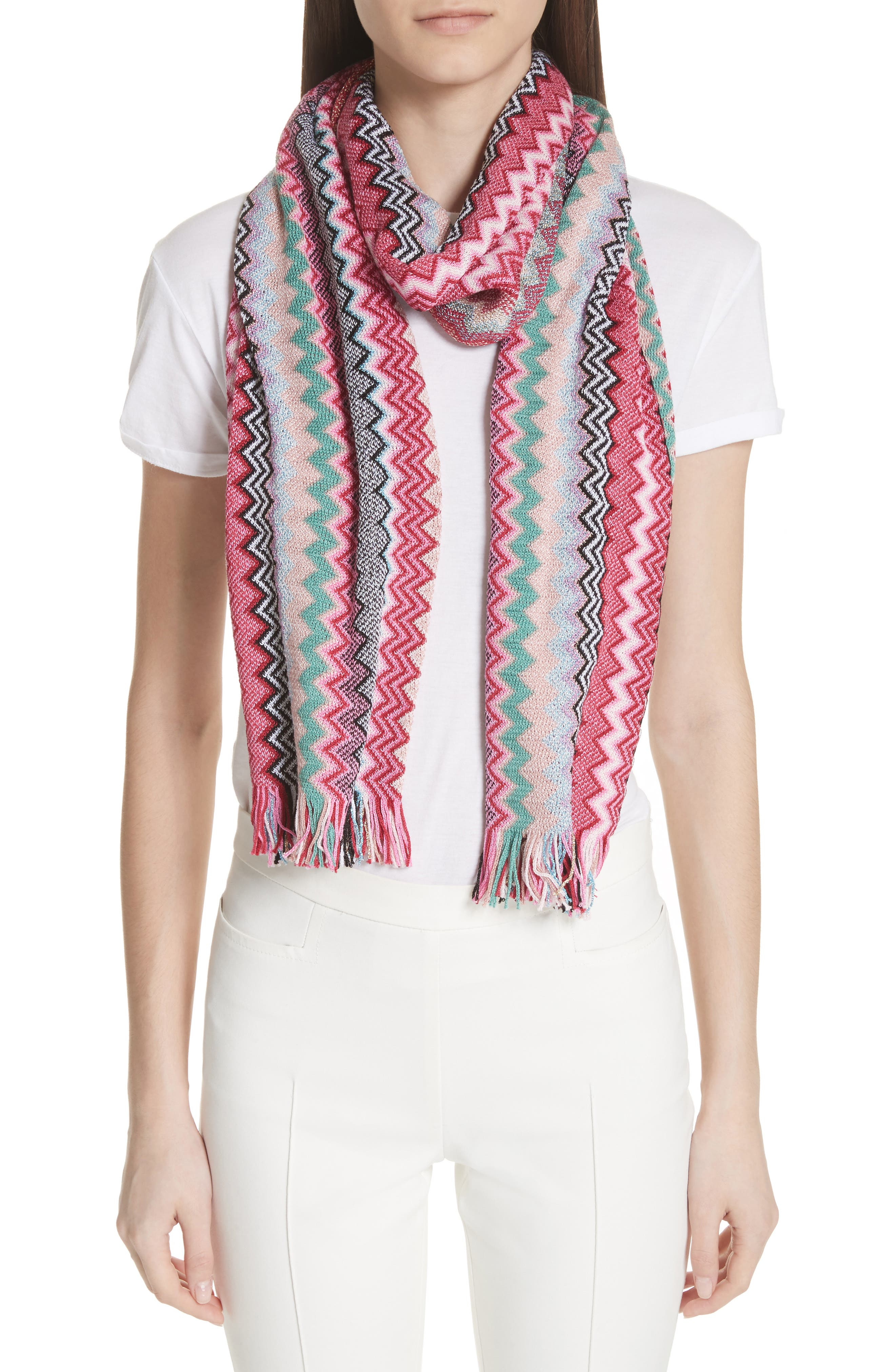 Zigzag Scarf,                         Main,                         color, Pink