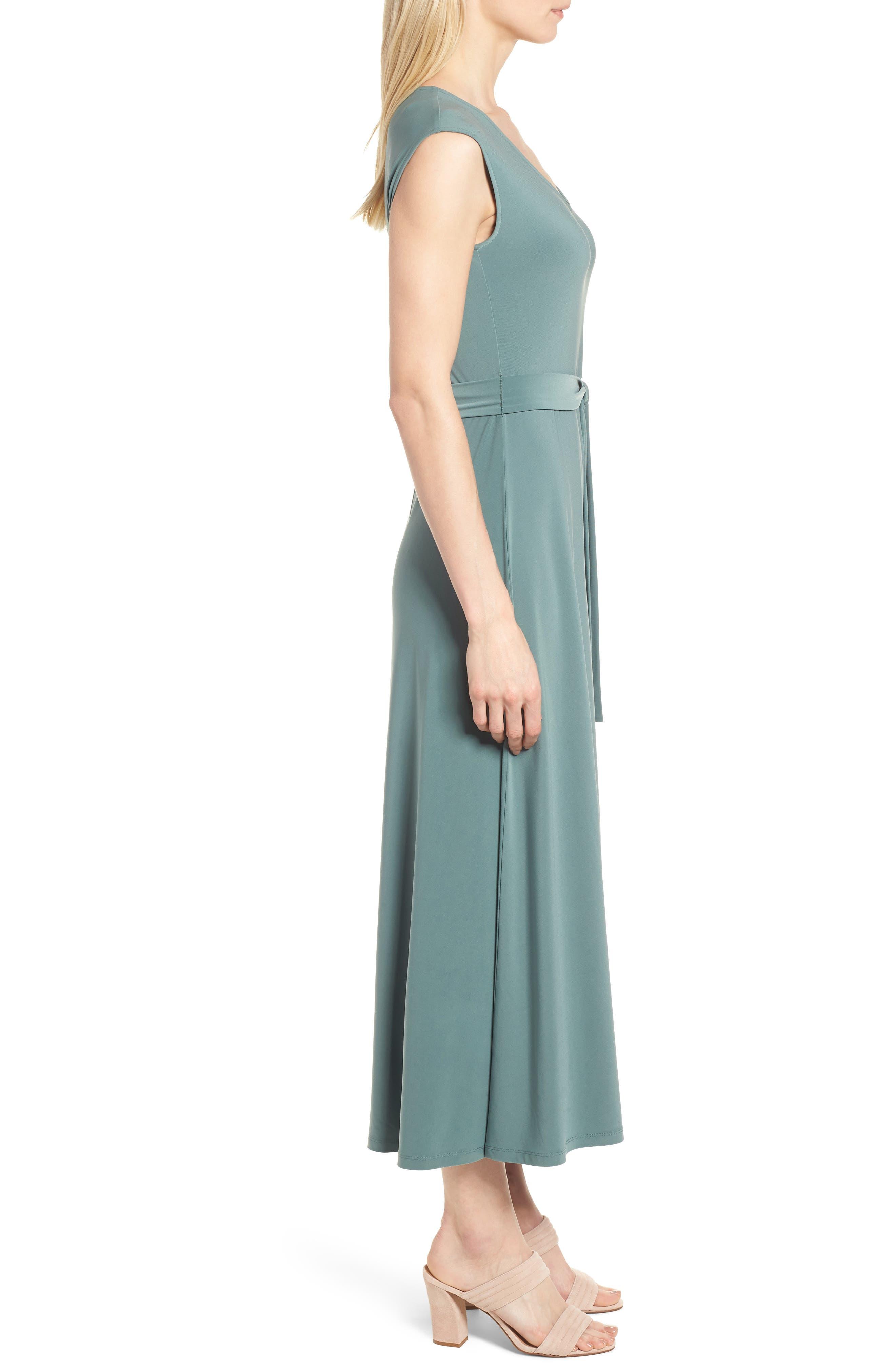 Tie Waist Maxi Dress,                             Alternate thumbnail 3, color,                             738-Tropic Moss