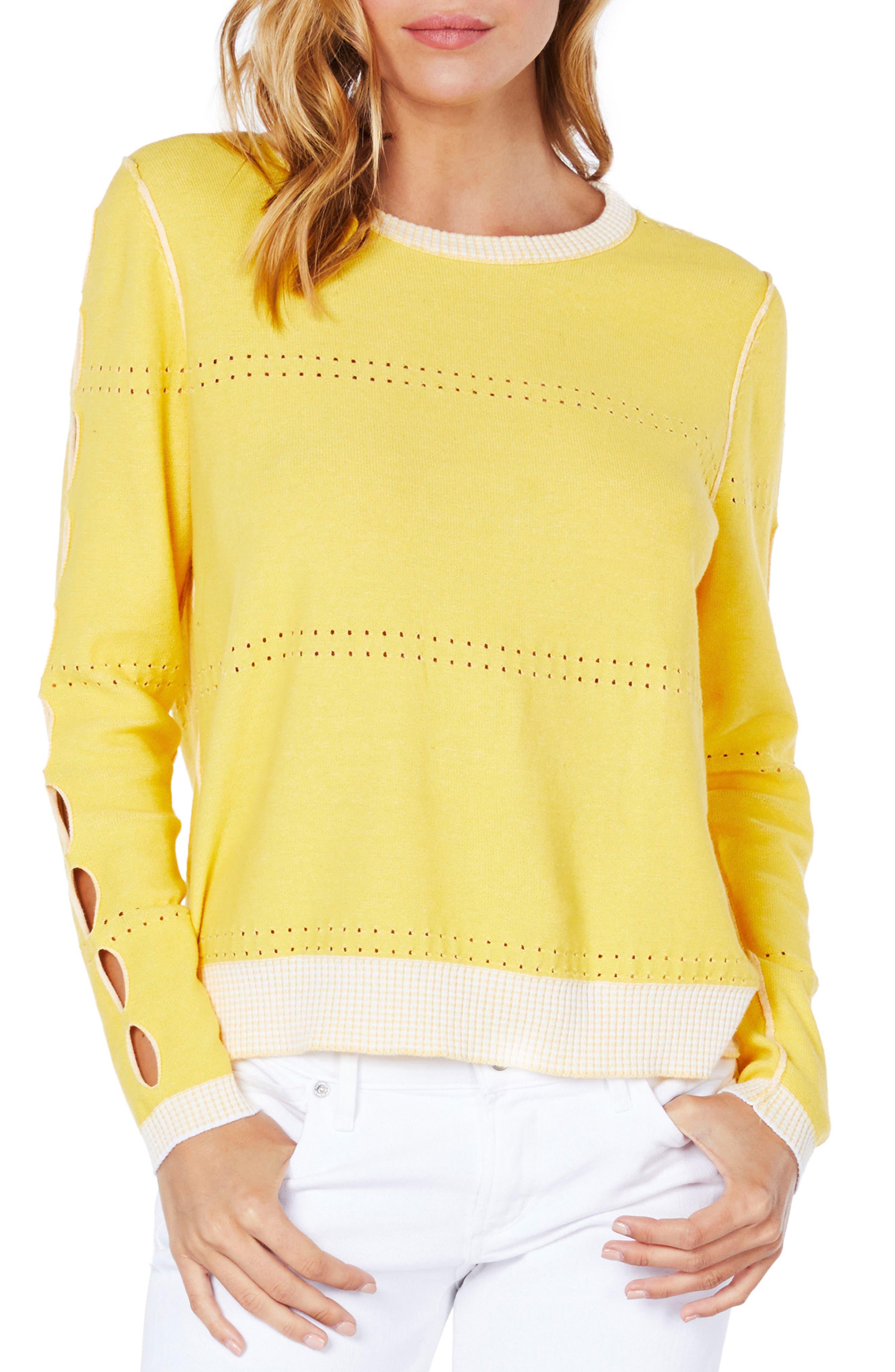 Slit Sleeve Reversible Sweater,                         Main,                         color, Dandelion