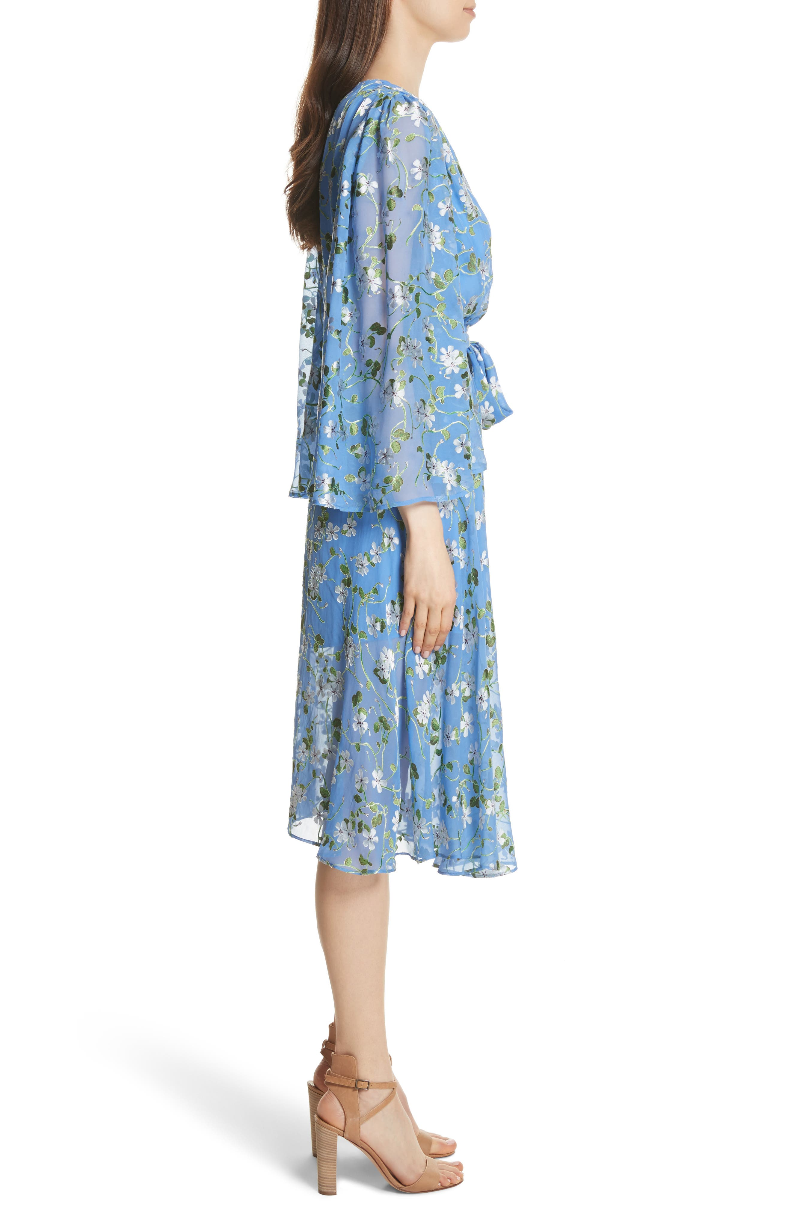 Halsey Bell Sleeve Faux Wrap Dress,                             Alternate thumbnail 3, color,                             Spring Primrose-Cerulean