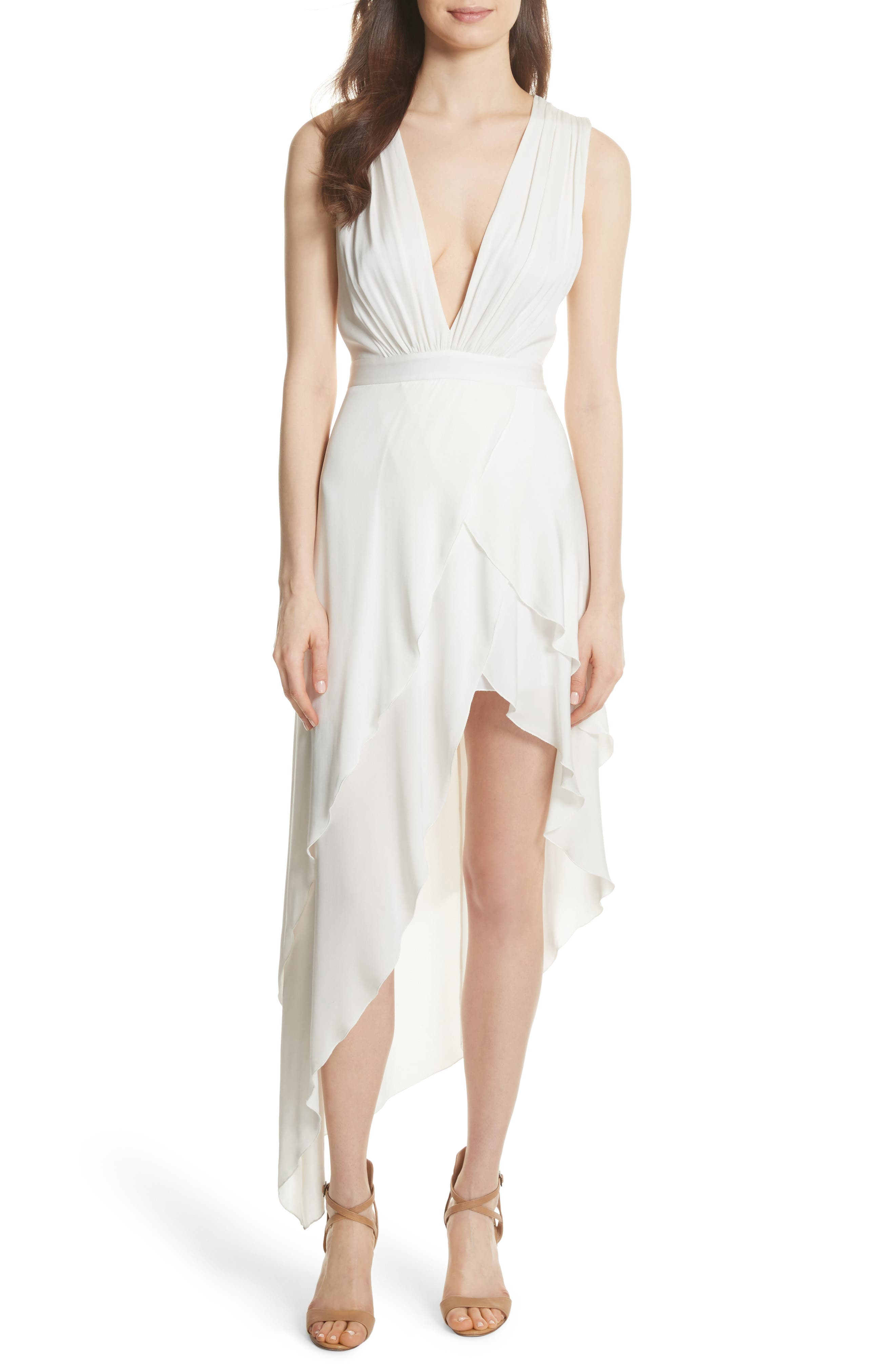 Chantay Asymmetrical Plunging Maxi Dress,                         Main,                         color, Off White