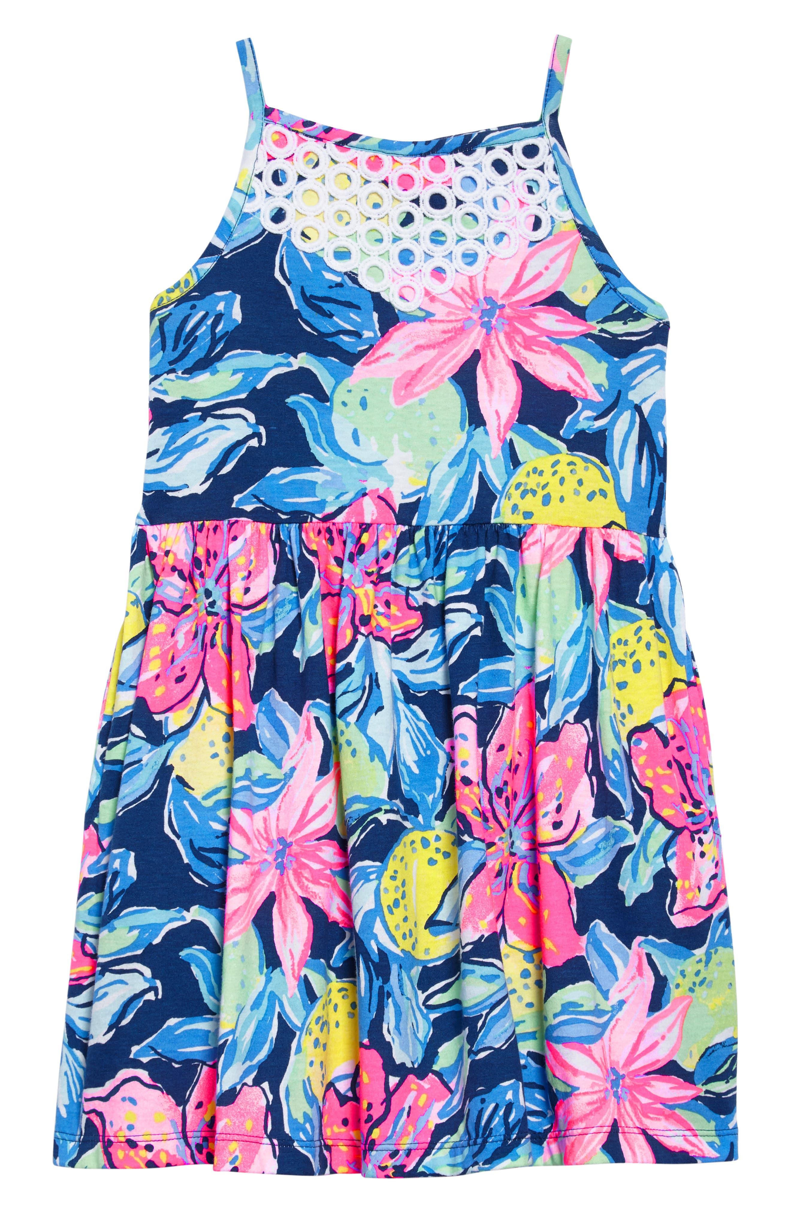 Kinley Halter Dress,                         Main,                         color, Nauti Navy Capri Soleil