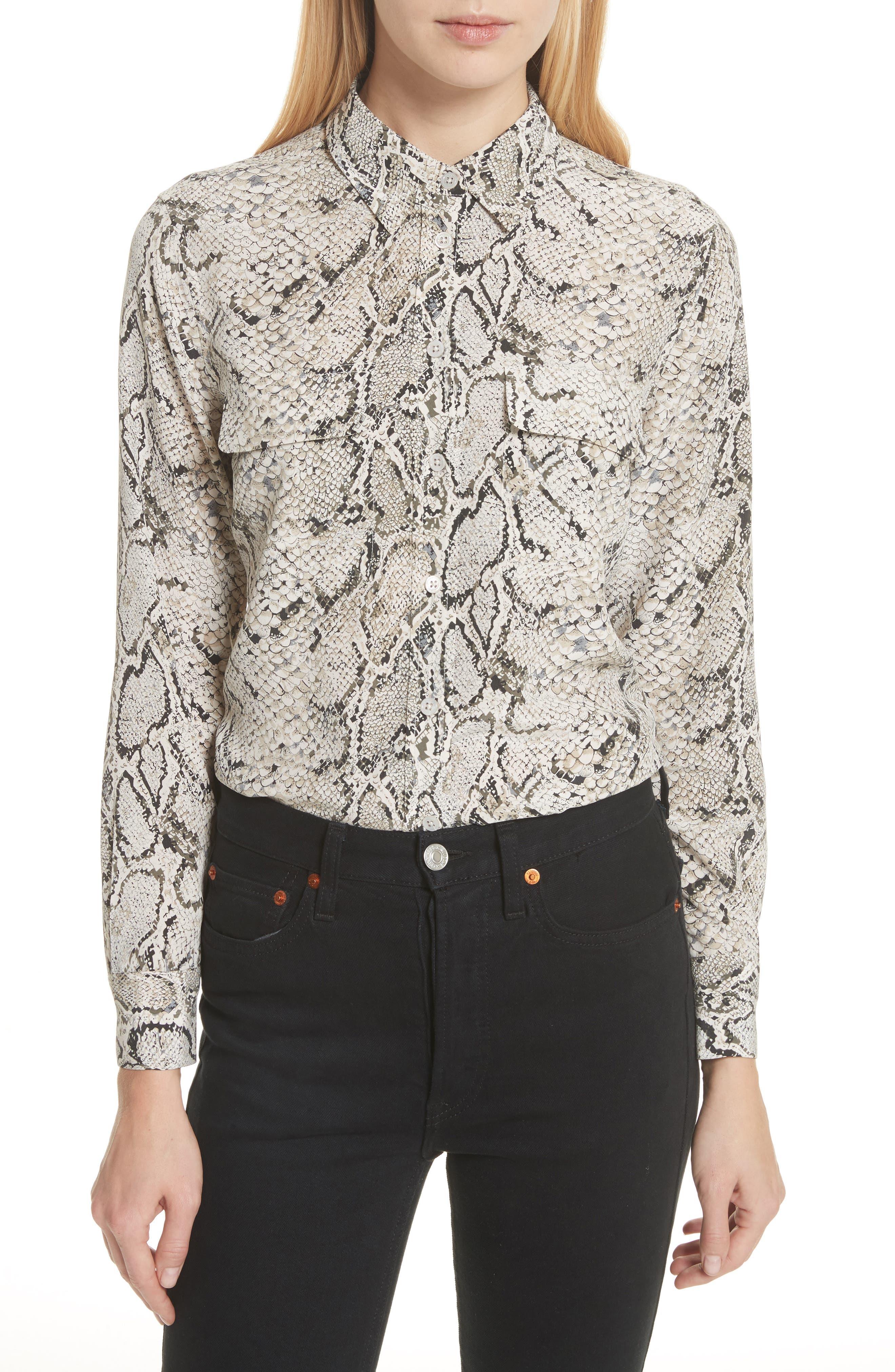 Slim Signature Python Print Silk Shirt,                         Main,                         color, Natural