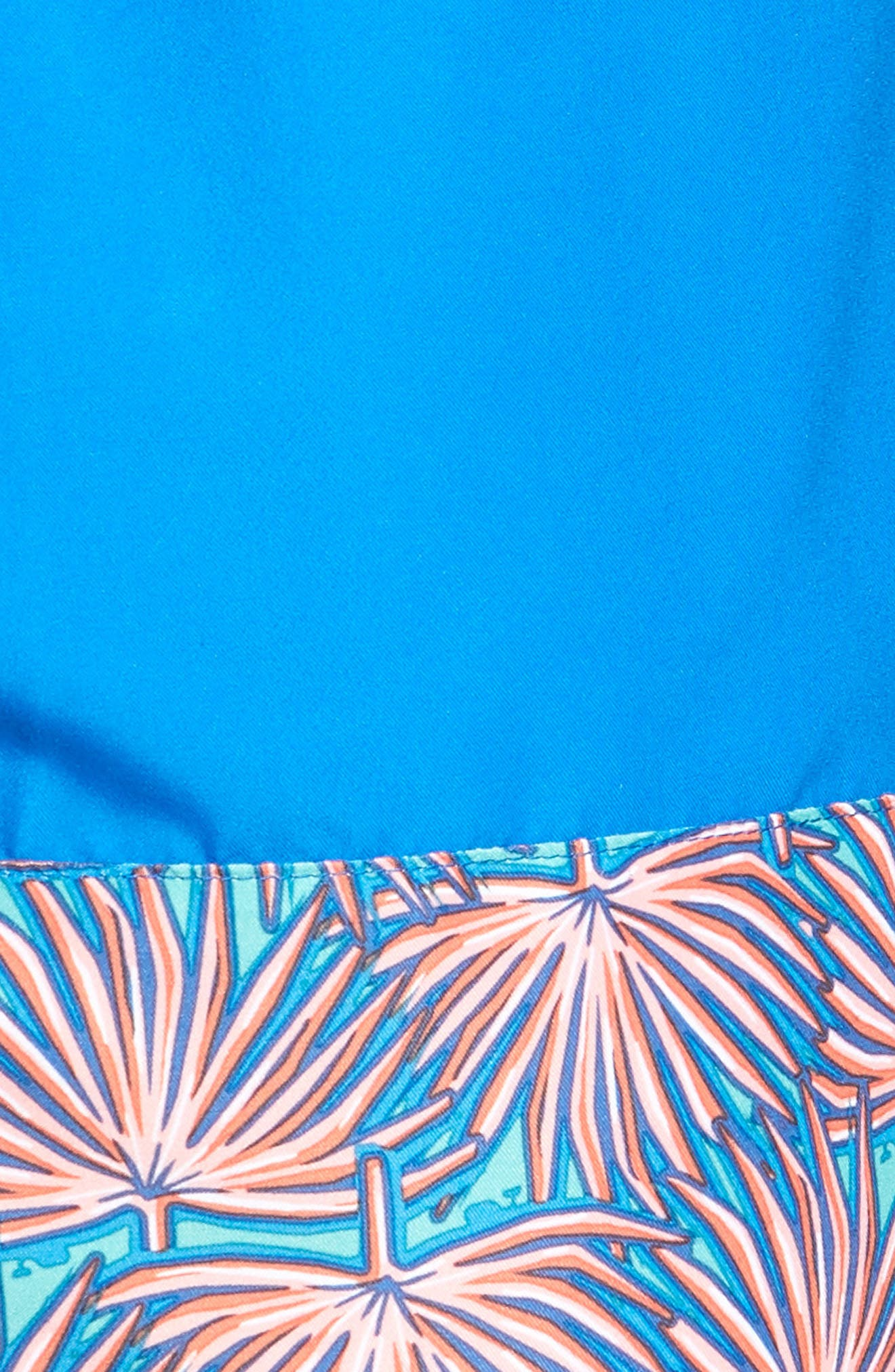 Fan Palmed Print Swim Trunks,                             Alternate thumbnail 5, color,                             Capri Blue