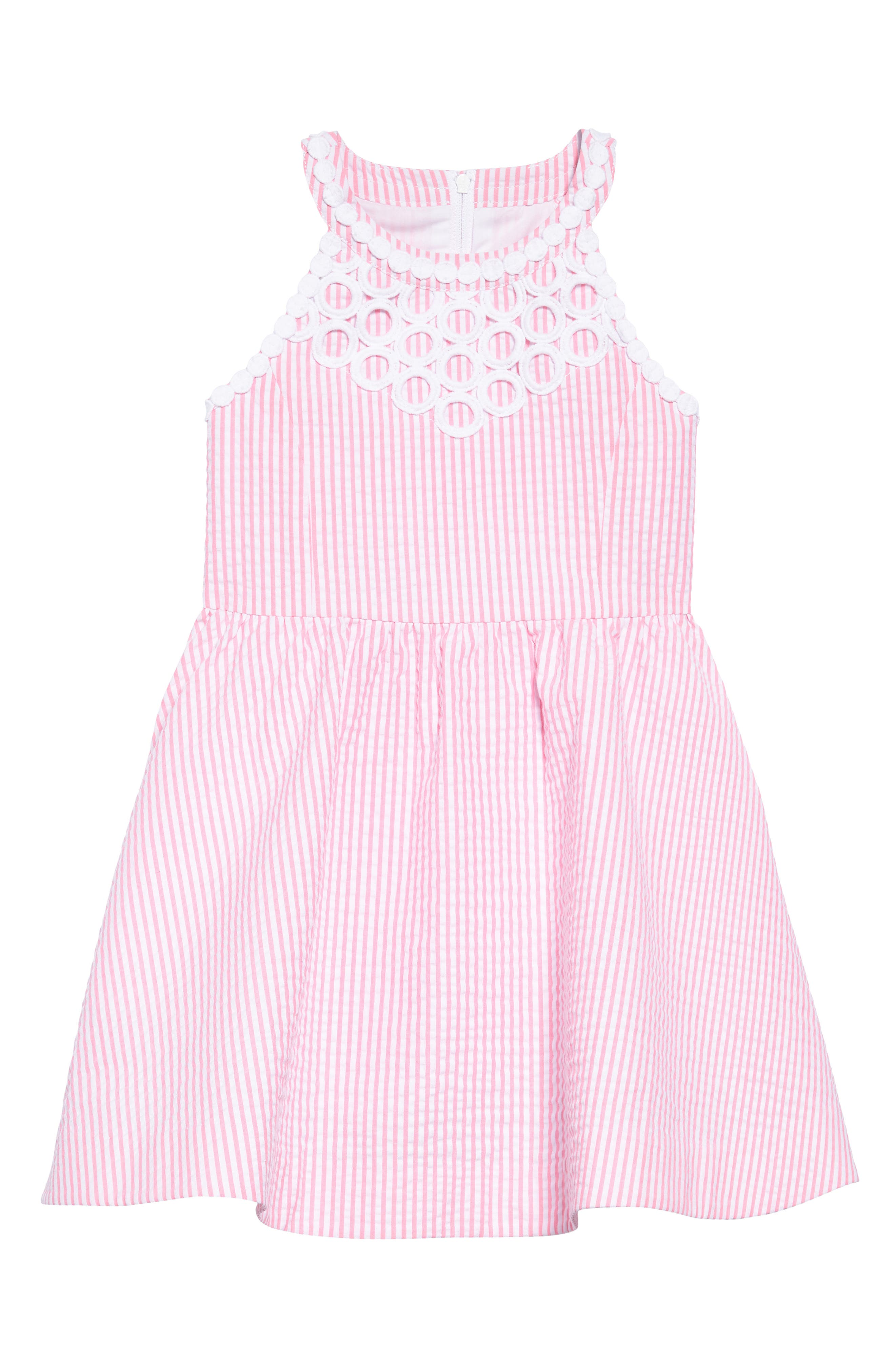 Kinley Fit & Flare Dress,                             Main thumbnail 1, color,                             Pink Cosmo Yarn Dyed Stripe