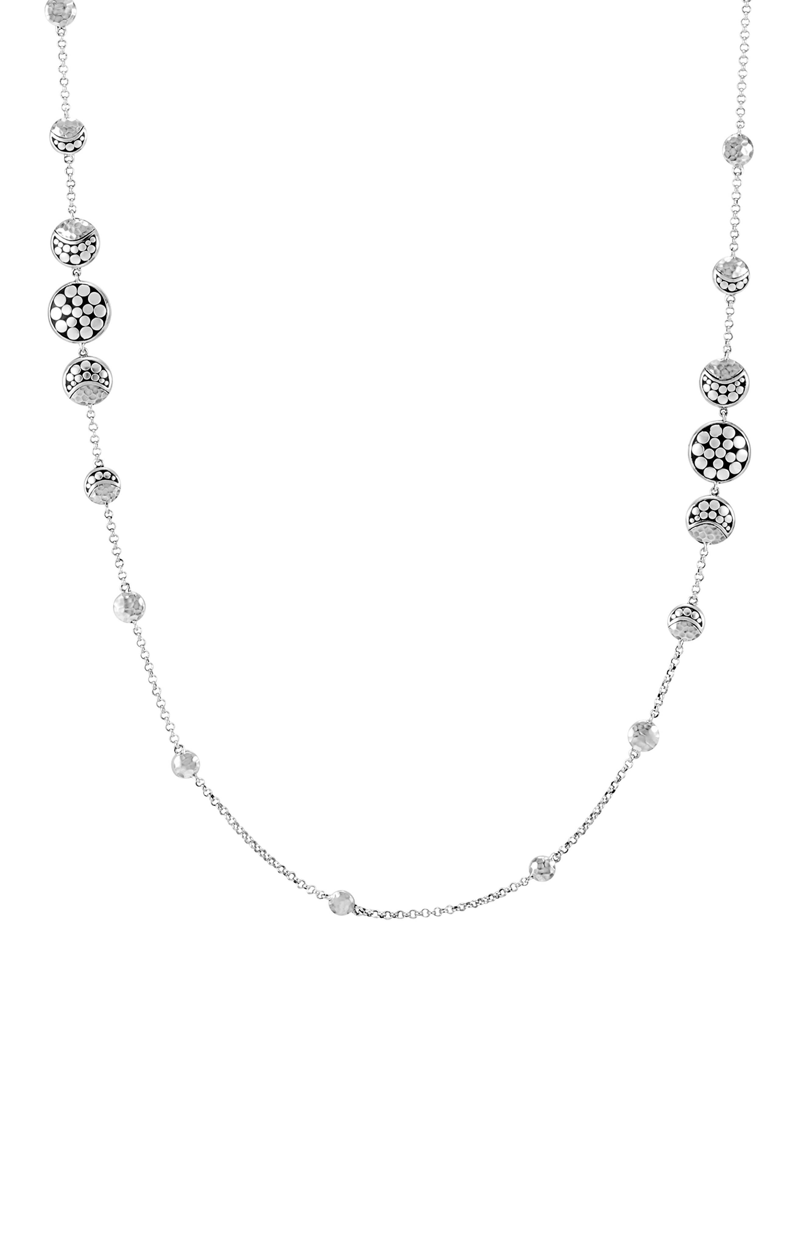 Dot Hammered Silver Necklace,                             Alternate thumbnail 3, color,                             Silver