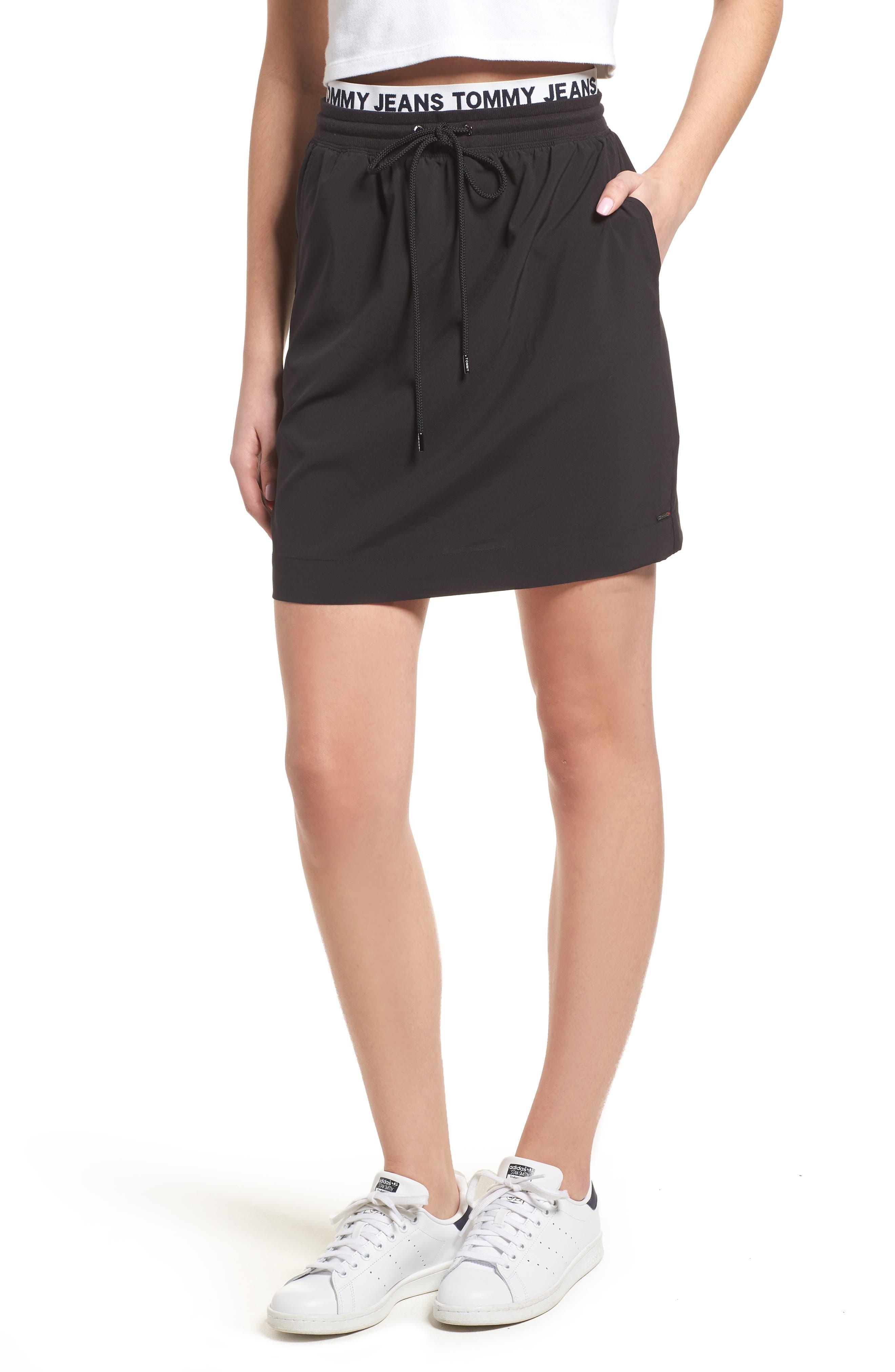 Logo Waistband Skirt,                         Main,                         color, Tommy Black