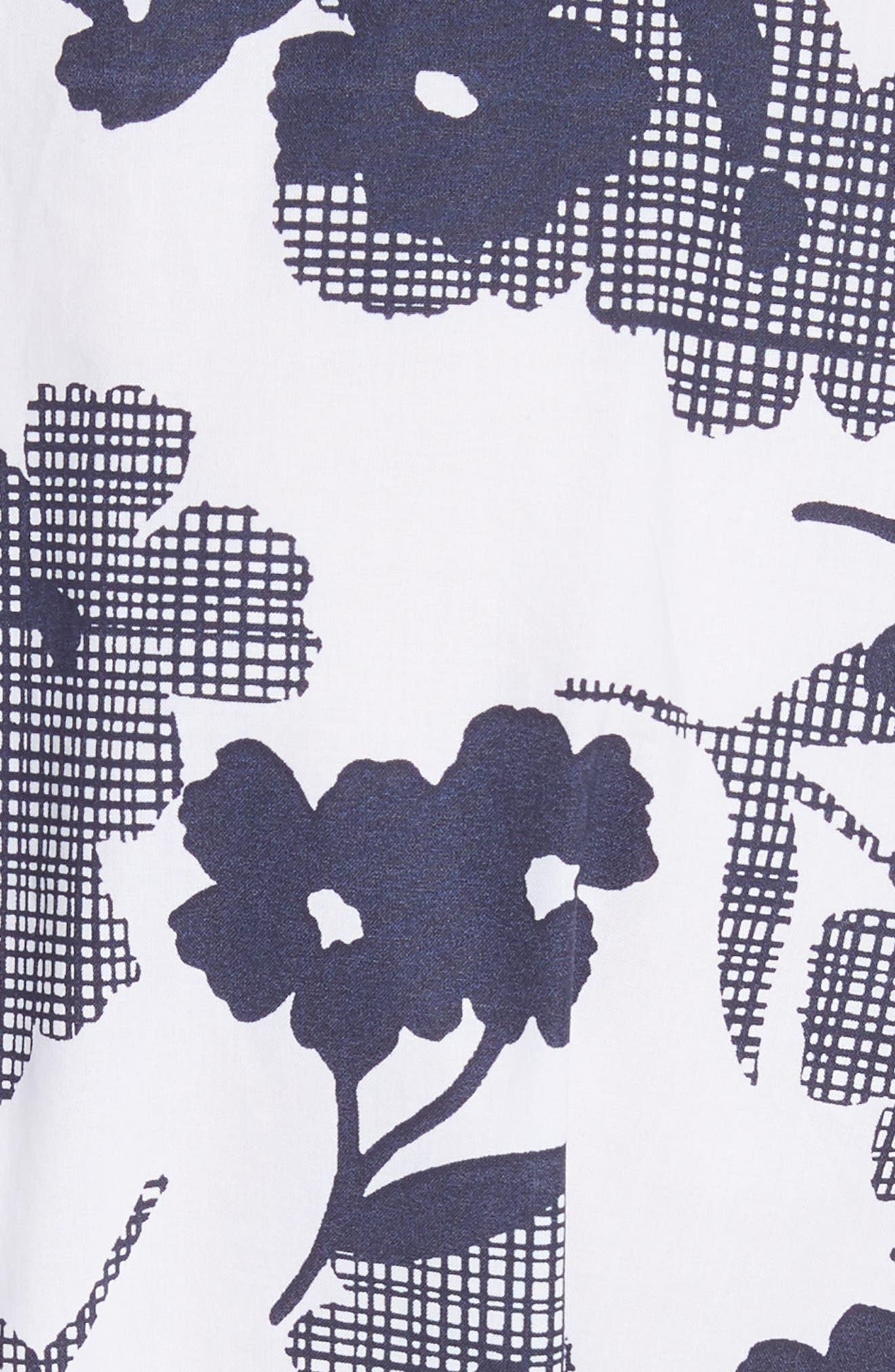 shadows fit & flare poplin dress,                             Alternate thumbnail 5, color,                             Rich Navy