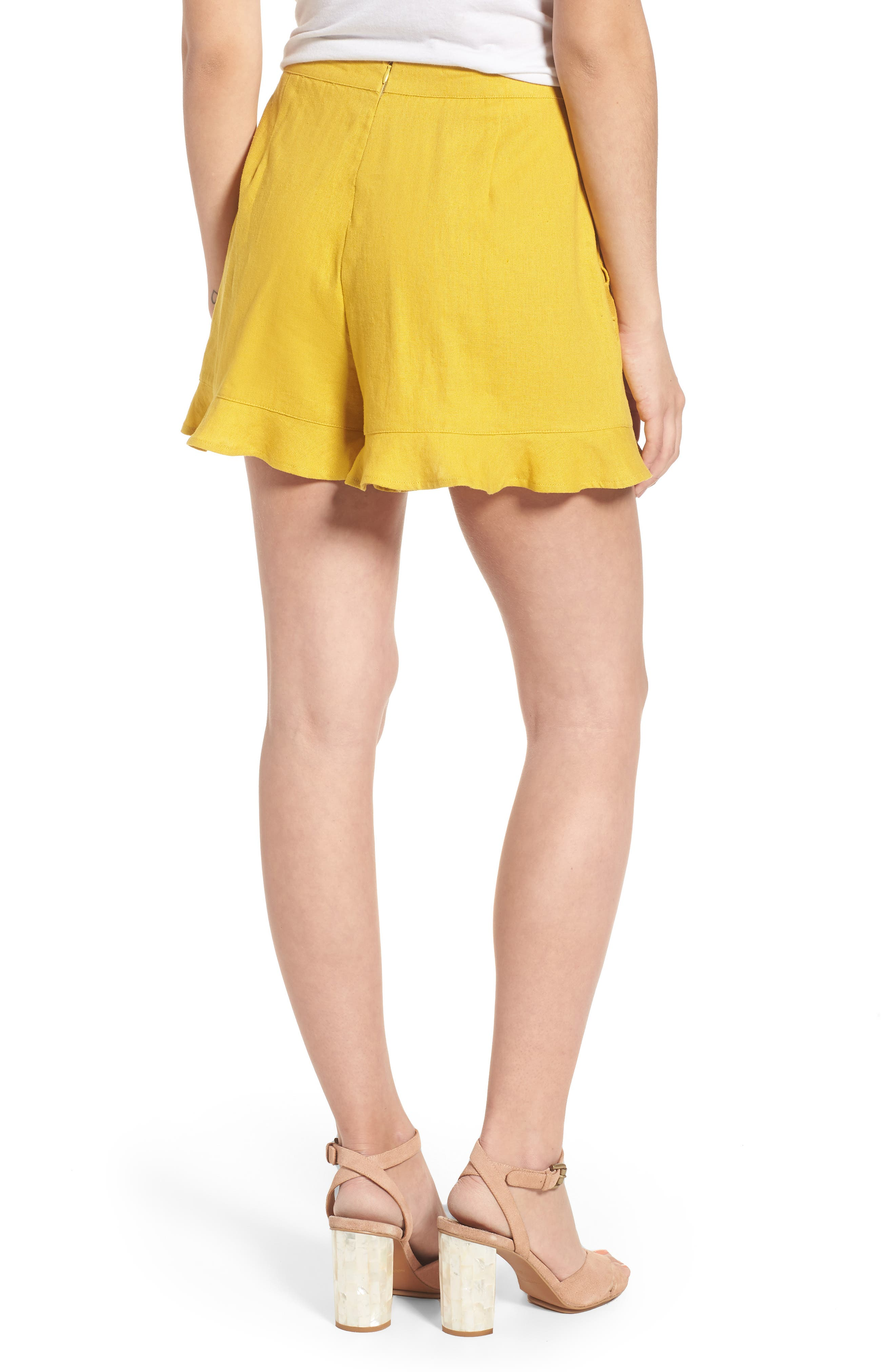 High Rise Ruffle Shorts,                             Alternate thumbnail 2, color,                             Mustard