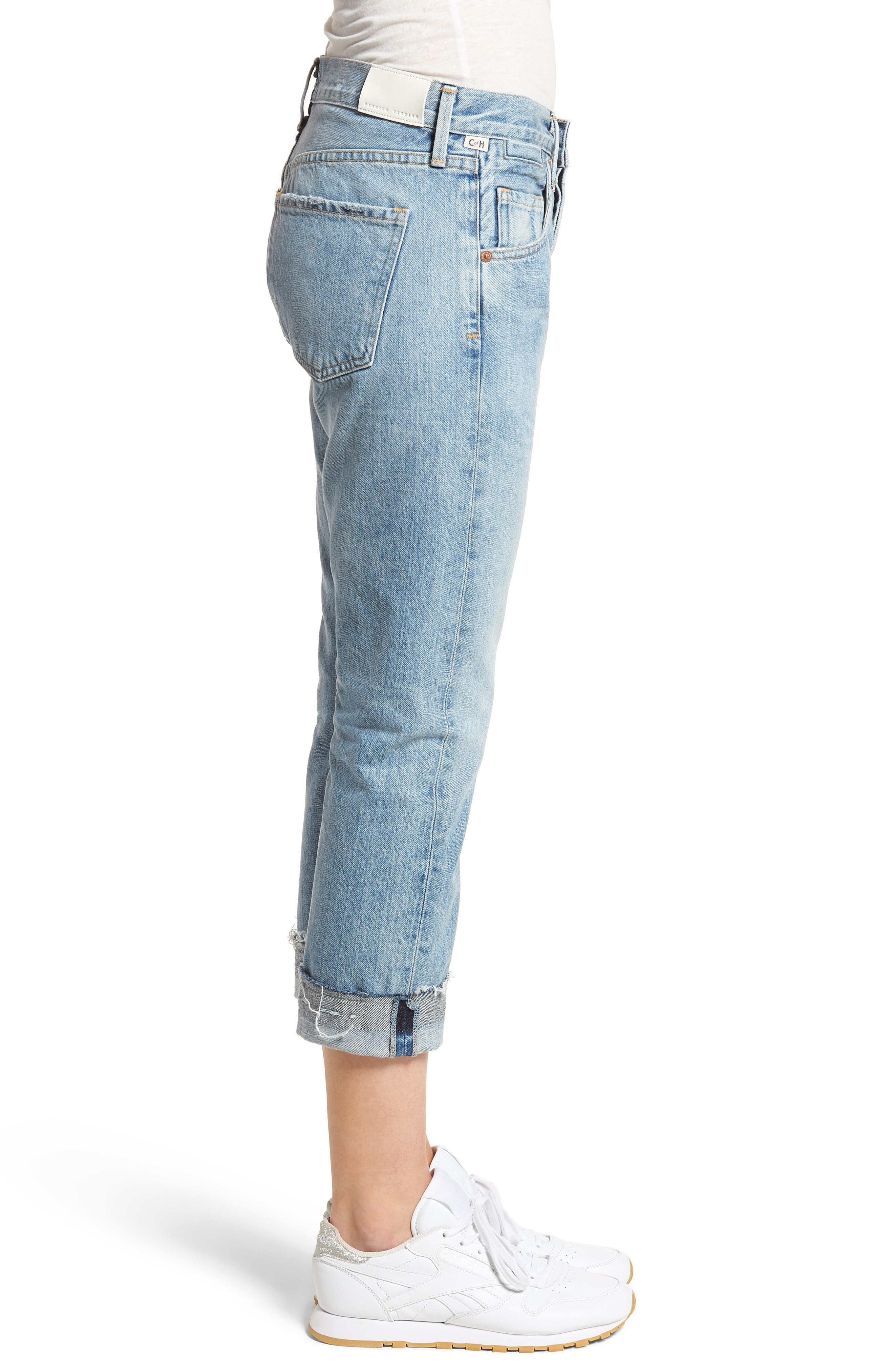 Emerson Crop Slim Fit Boyfriend Jeans,                             Alternate thumbnail 3, color,                             Stax