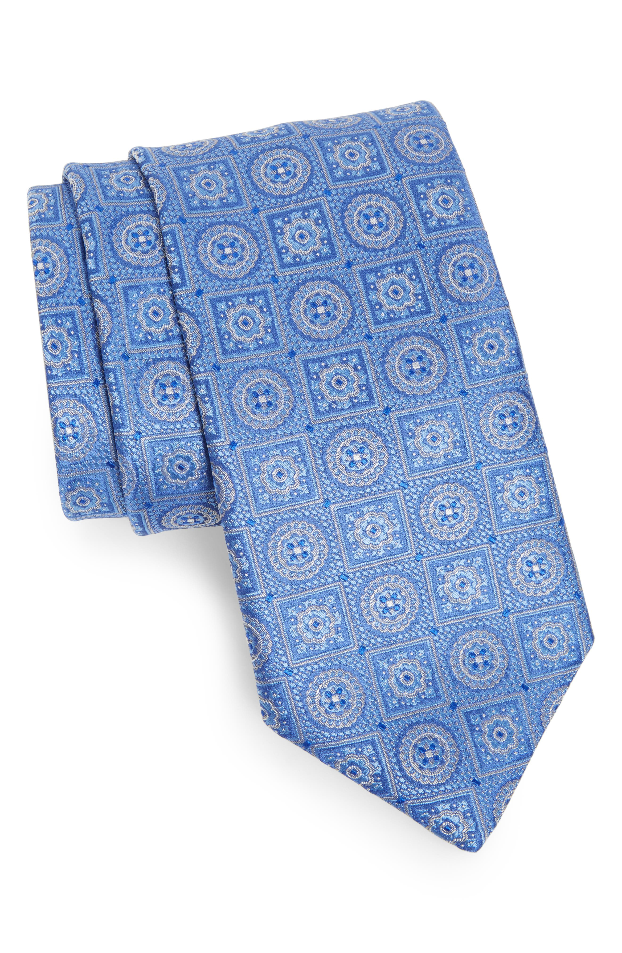 Medallion Silk Tie,                             Main thumbnail 1, color,                             Medium Blue