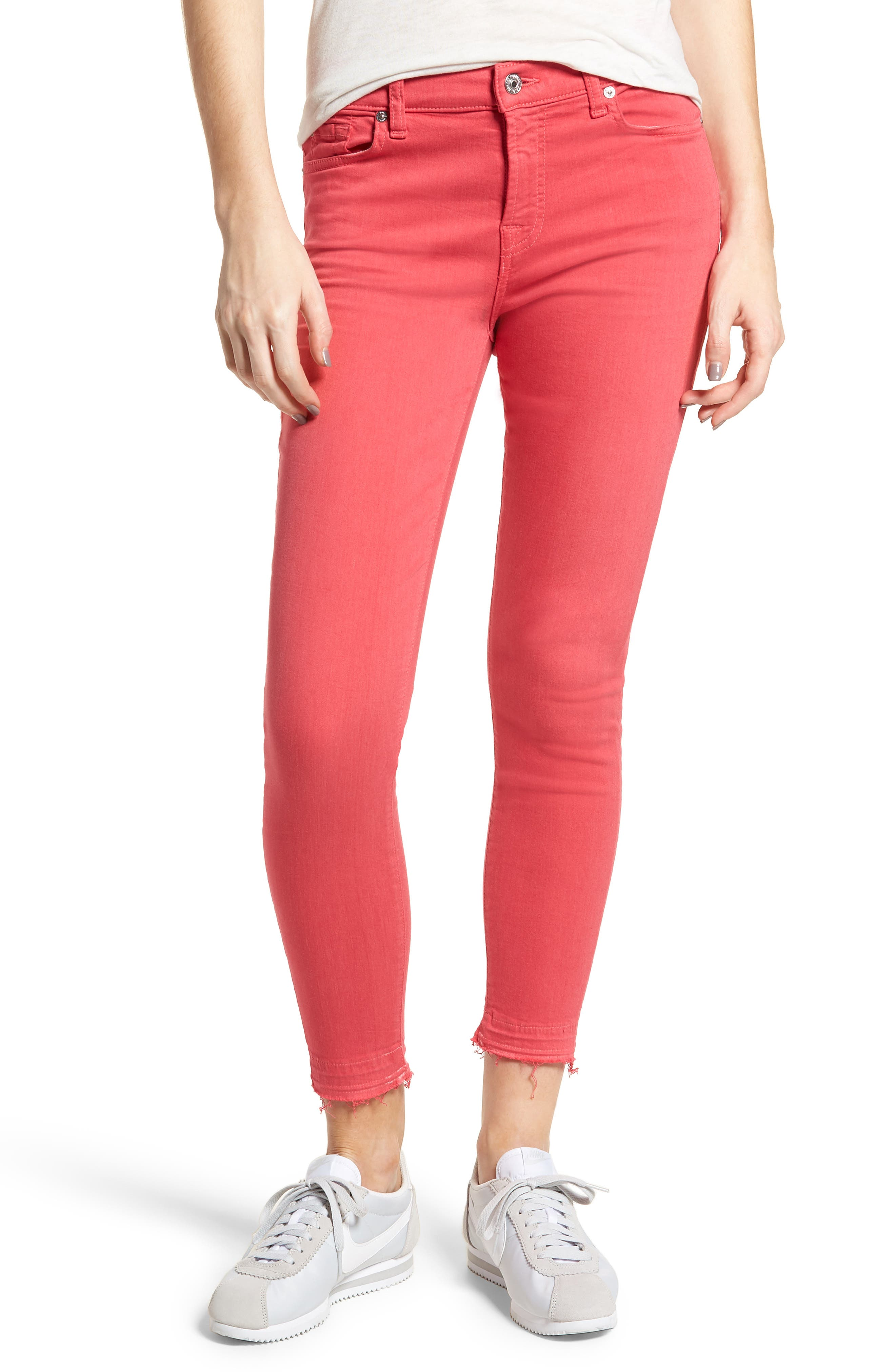 Released Hem Ankle Skinny Jeans,                             Main thumbnail 1, color,                             Cherry Ice