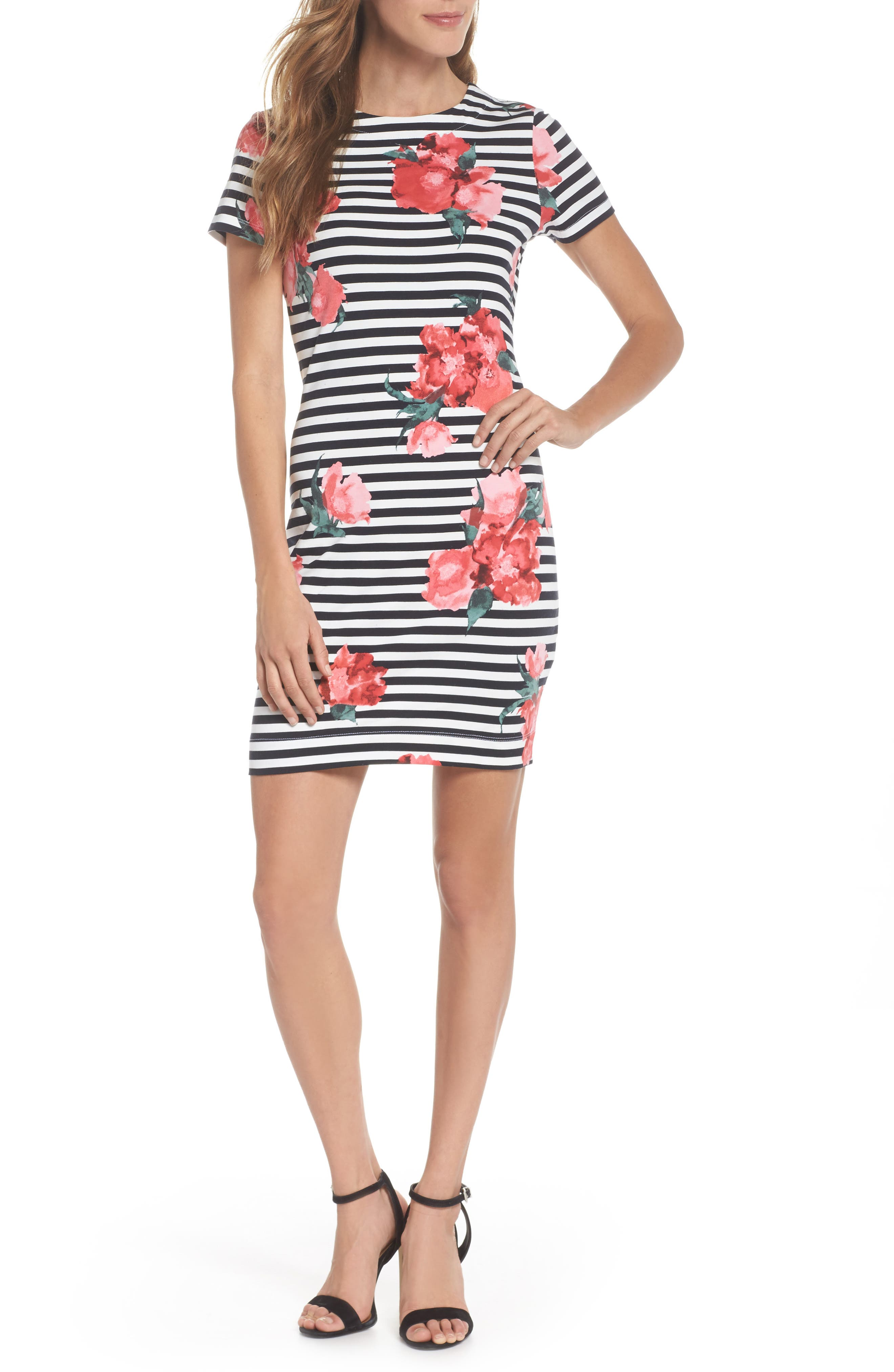 Jude Flower Stripe Knit Dress,                             Main thumbnail 1, color,                             Nocturnal Multi