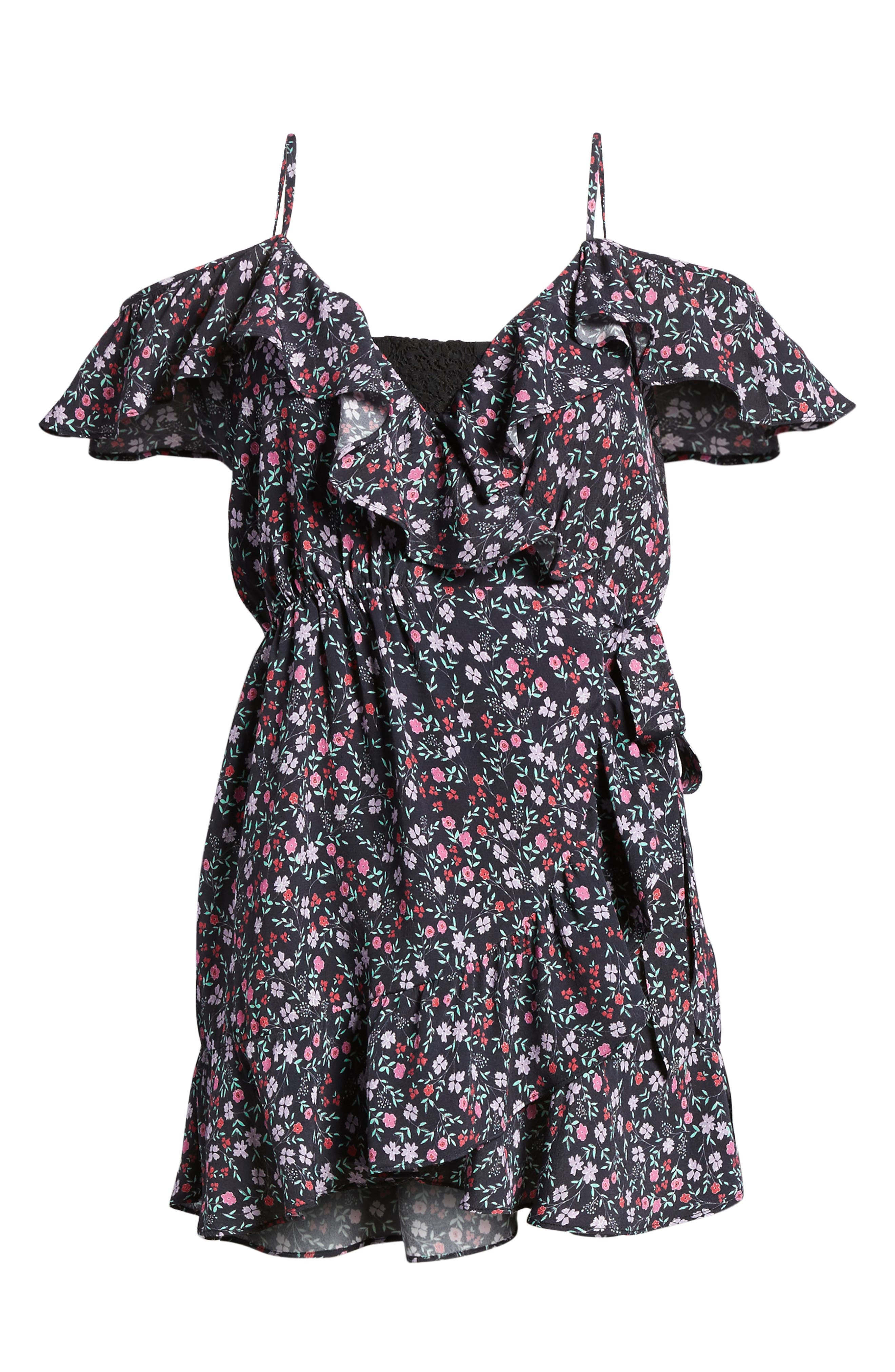 Skye Wrap Minidress,                             Alternate thumbnail 6, color,                             Ditsy Floral