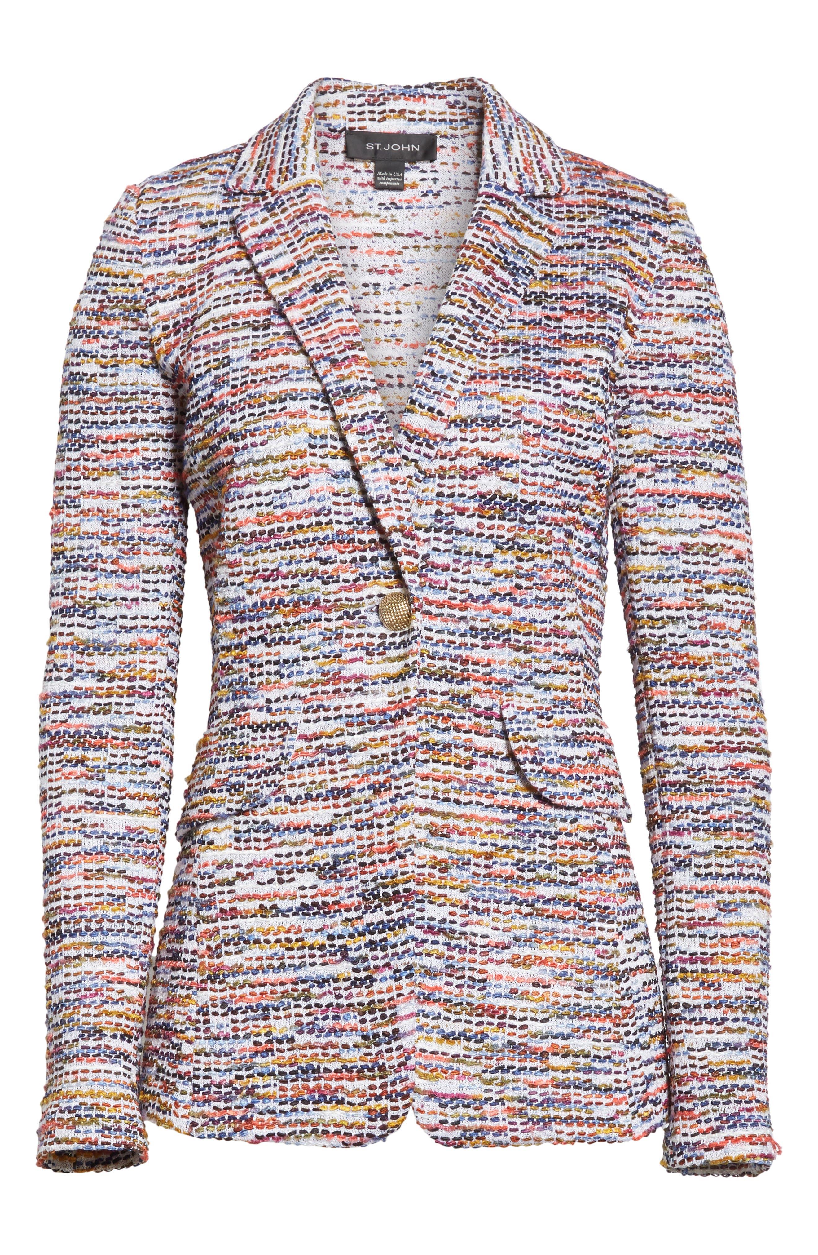 Vertical Fringe Multi Tweed Knit Jacket,                             Alternate thumbnail 7, color,                             Sienna Multi