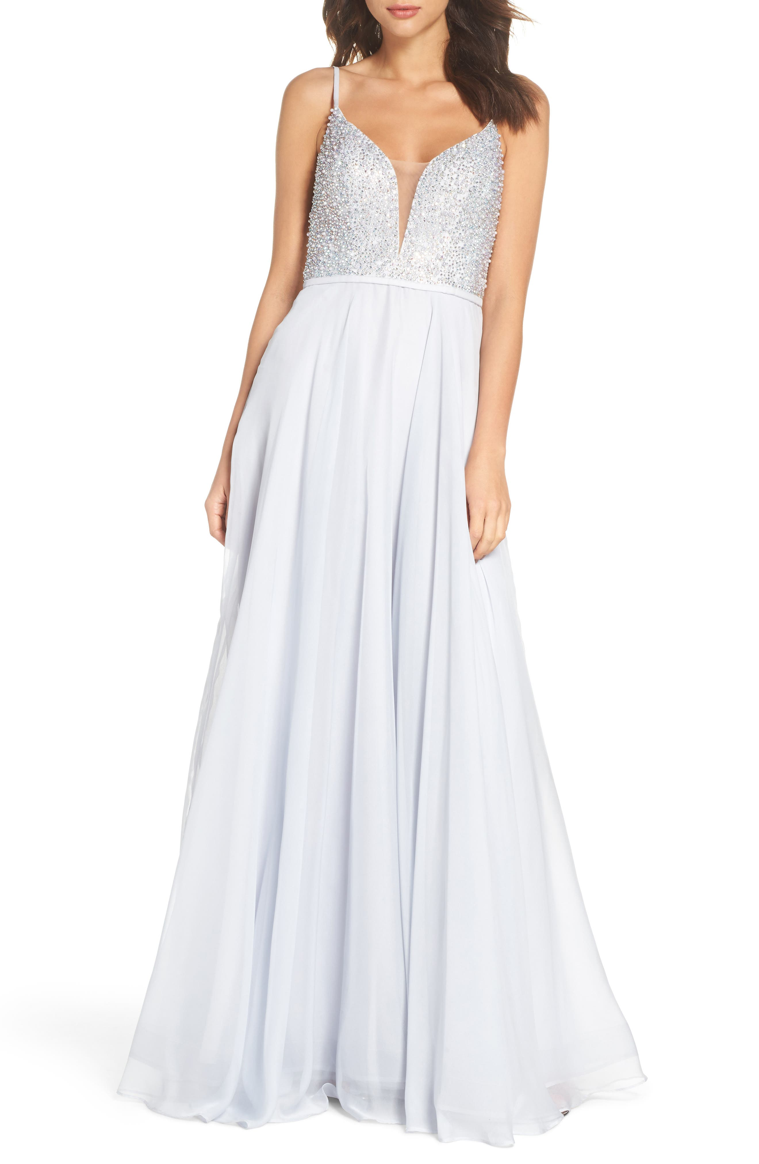 Beaded Chiffon Gown,                         Main,                         color, Silver