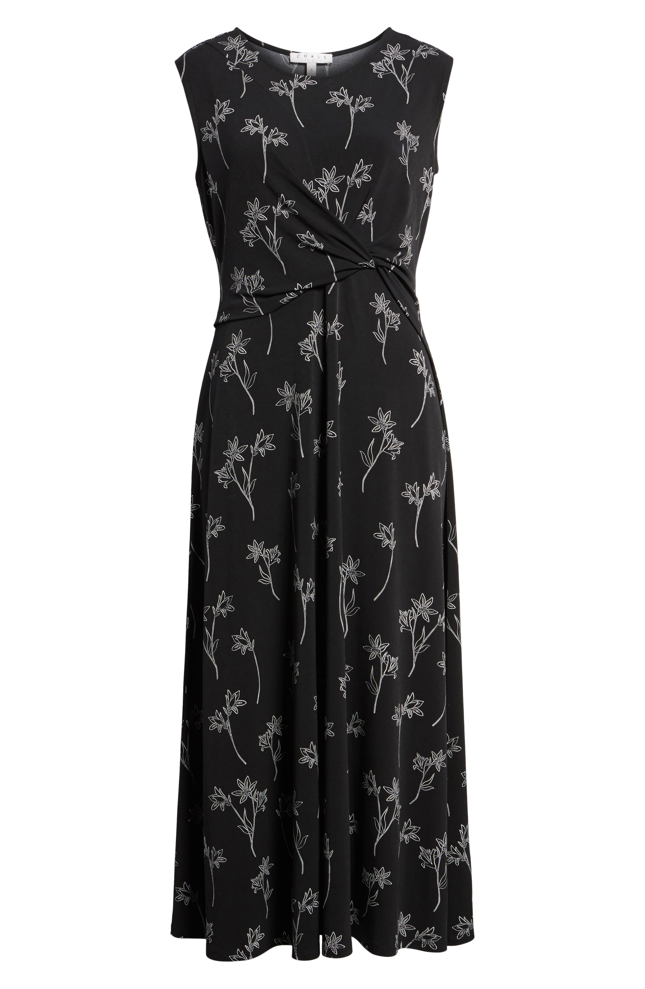 Floral Outlines Knot Front Maxi Dress,                             Alternate thumbnail 6, color,                             060-Rich Black