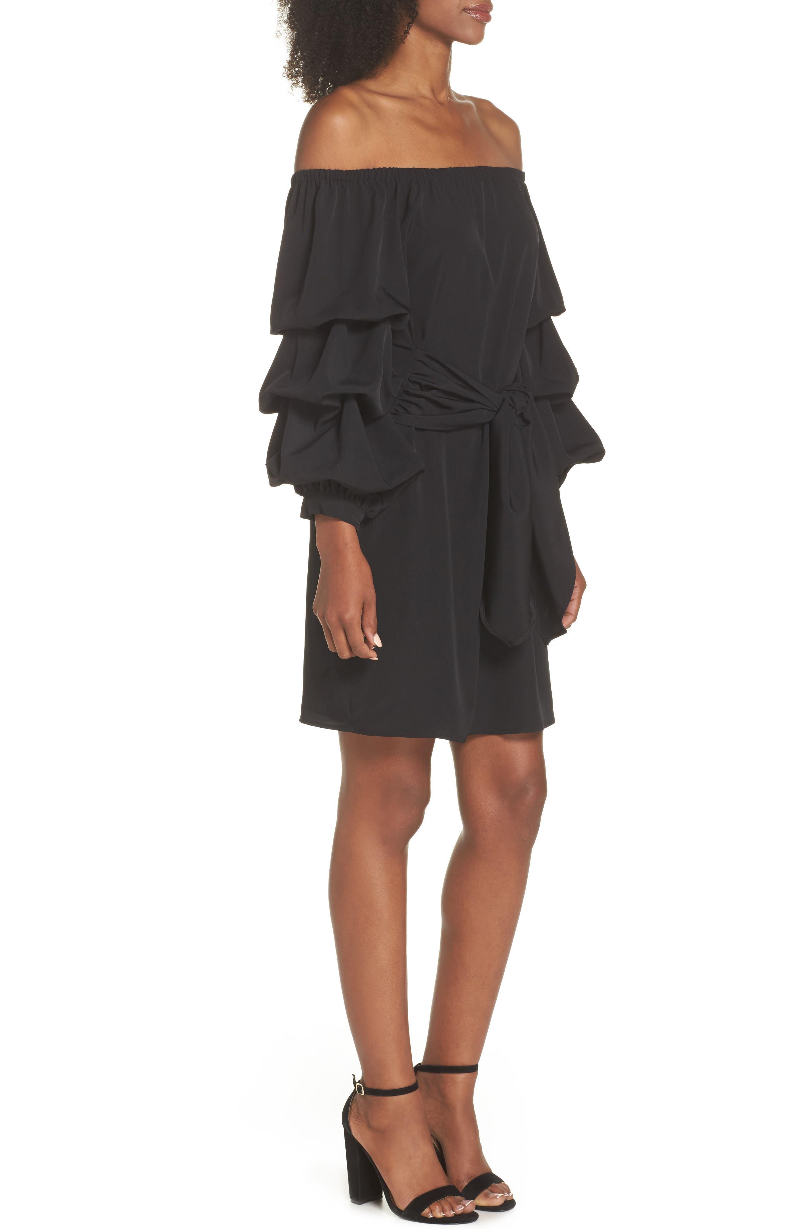 Off the Shoulder Tiered Sleeve Dress,                             Alternate thumbnail 3, color,                             Black