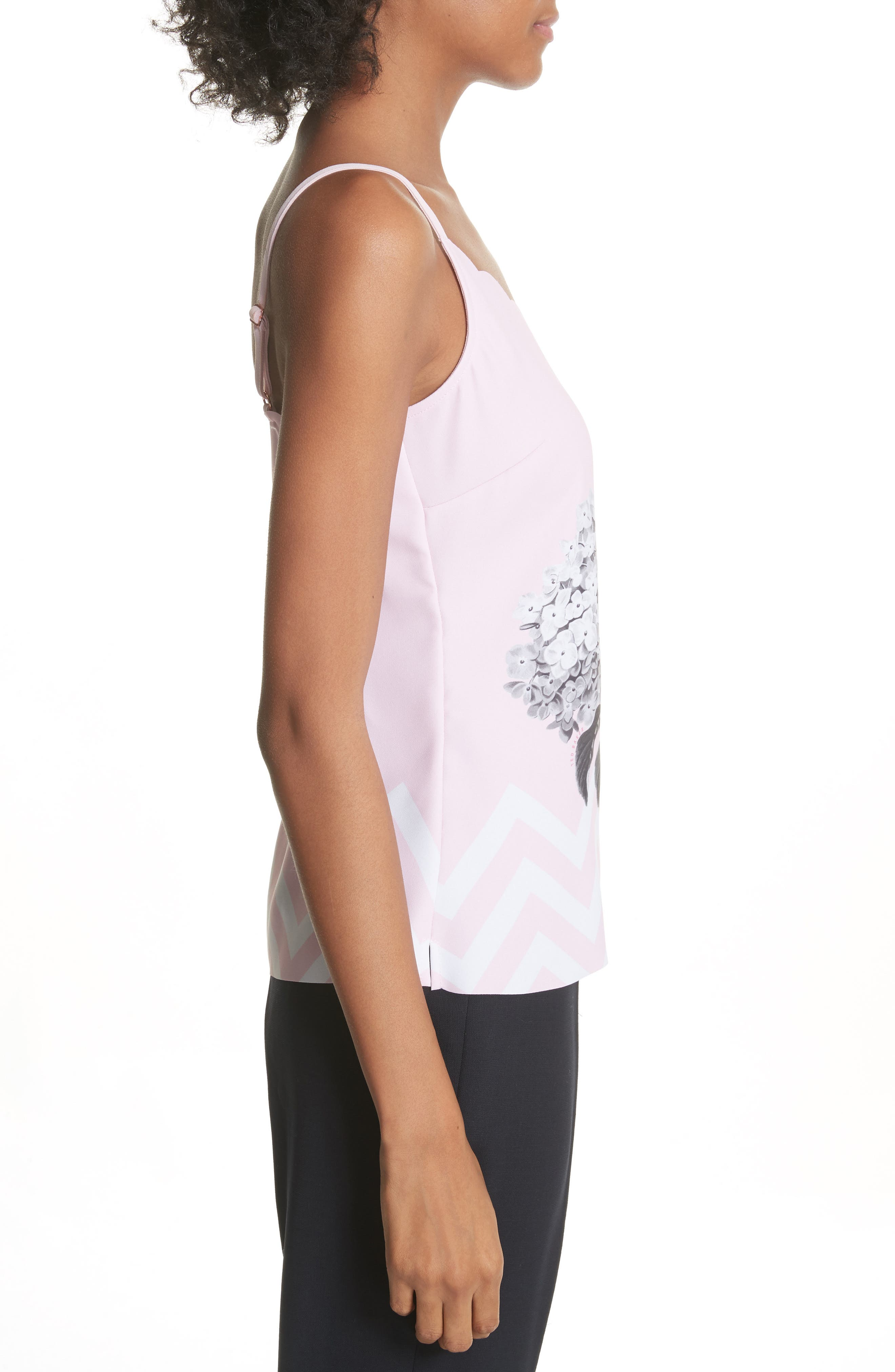 Palace Gardens Scalloped Camisole,                             Alternate thumbnail 3, color,                             Pale Pink
