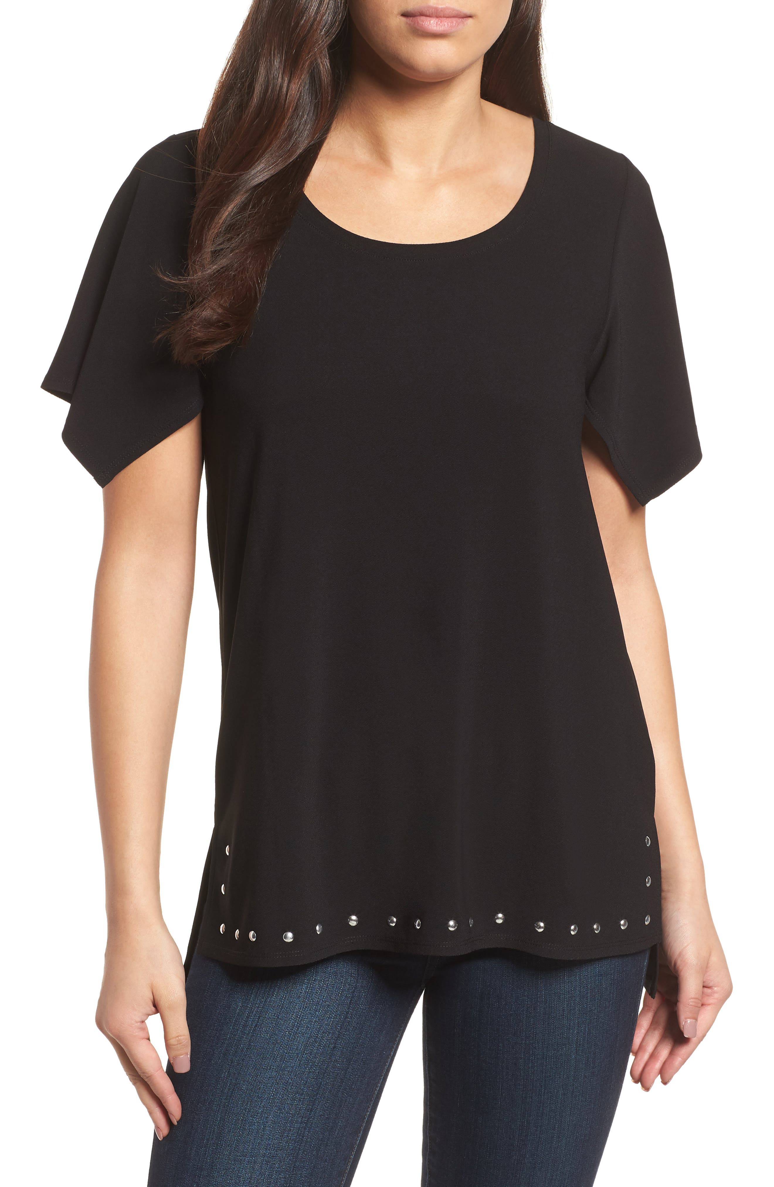 Rivet Split Sleeve Top,                         Main,                         color, 060-Rich Black