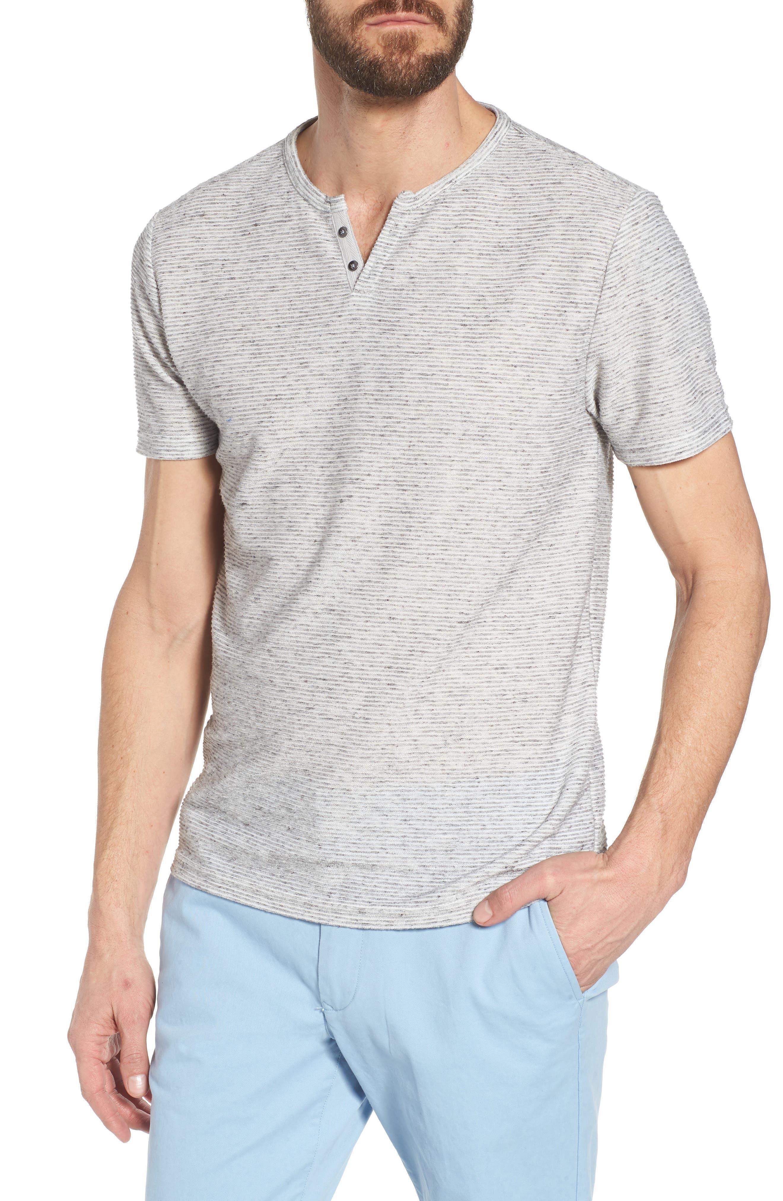 Metro Stripe Henley Shirt,                         Main,                         color, Light Grey