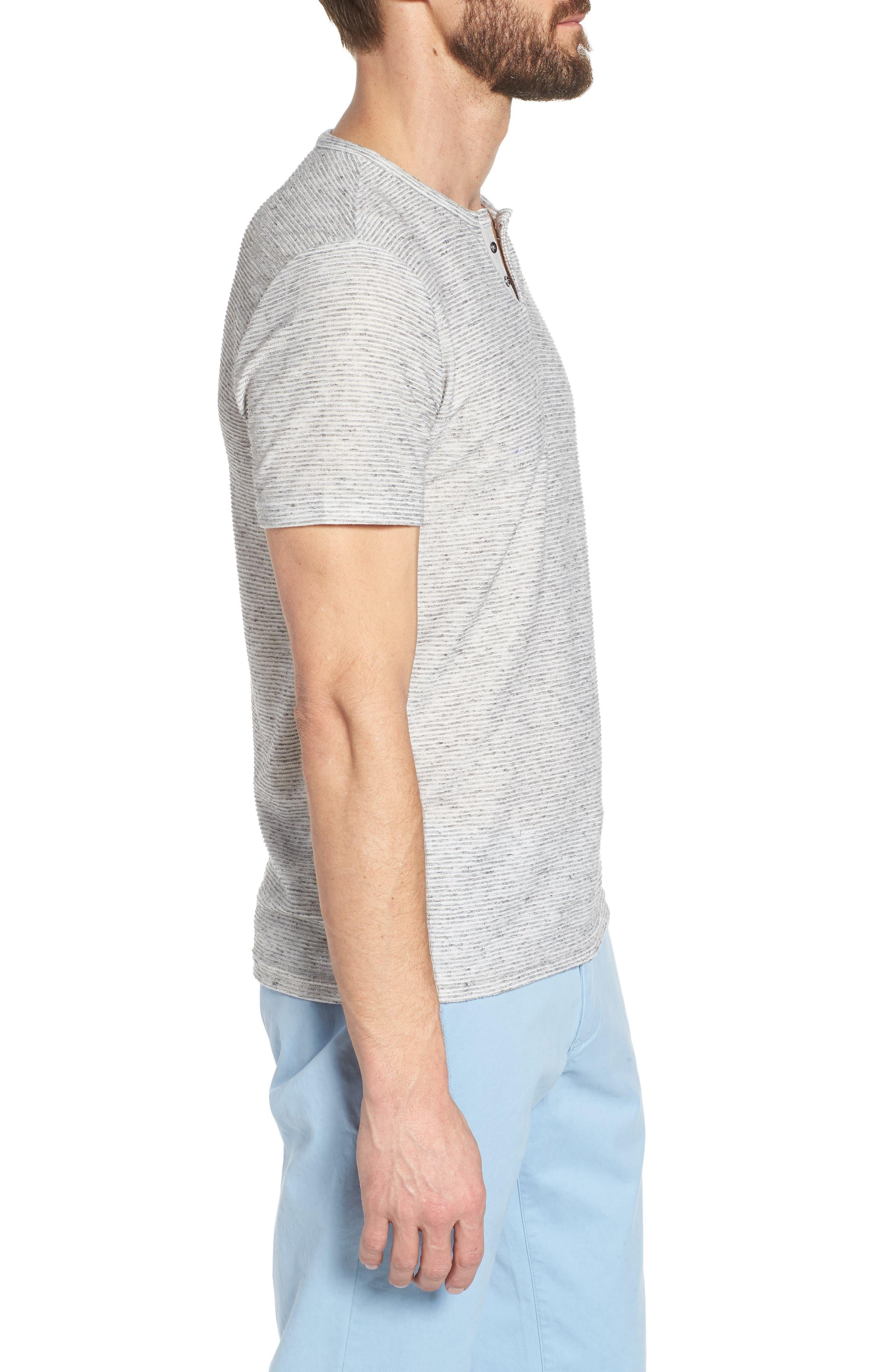 Metro Stripe Henley Shirt,                             Alternate thumbnail 3, color,                             Light Grey