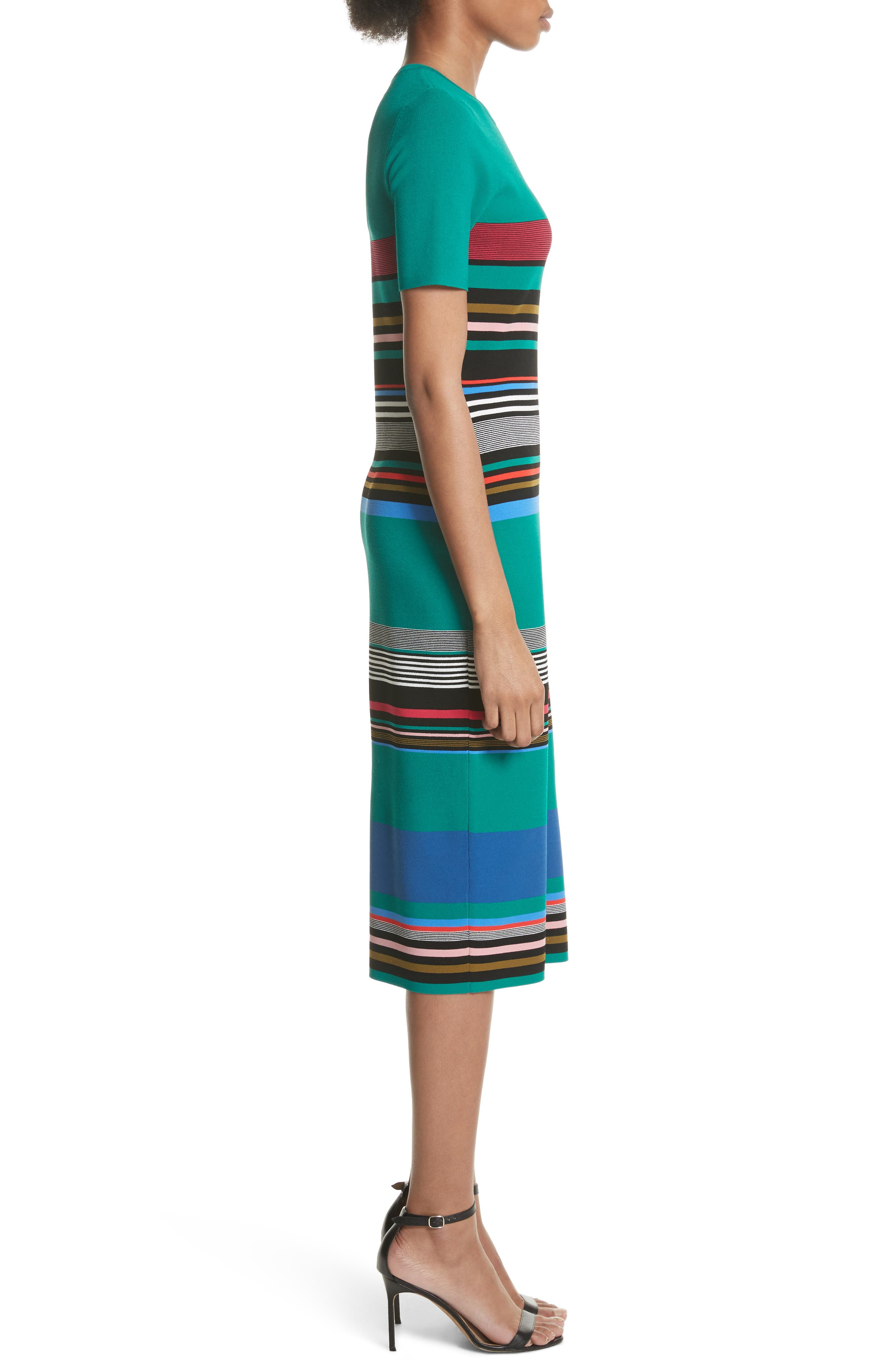 Diane von Furstenberg Stripe Short Sleeve Sweater Dress,                             Alternate thumbnail 3, color,                             Juniper Multi