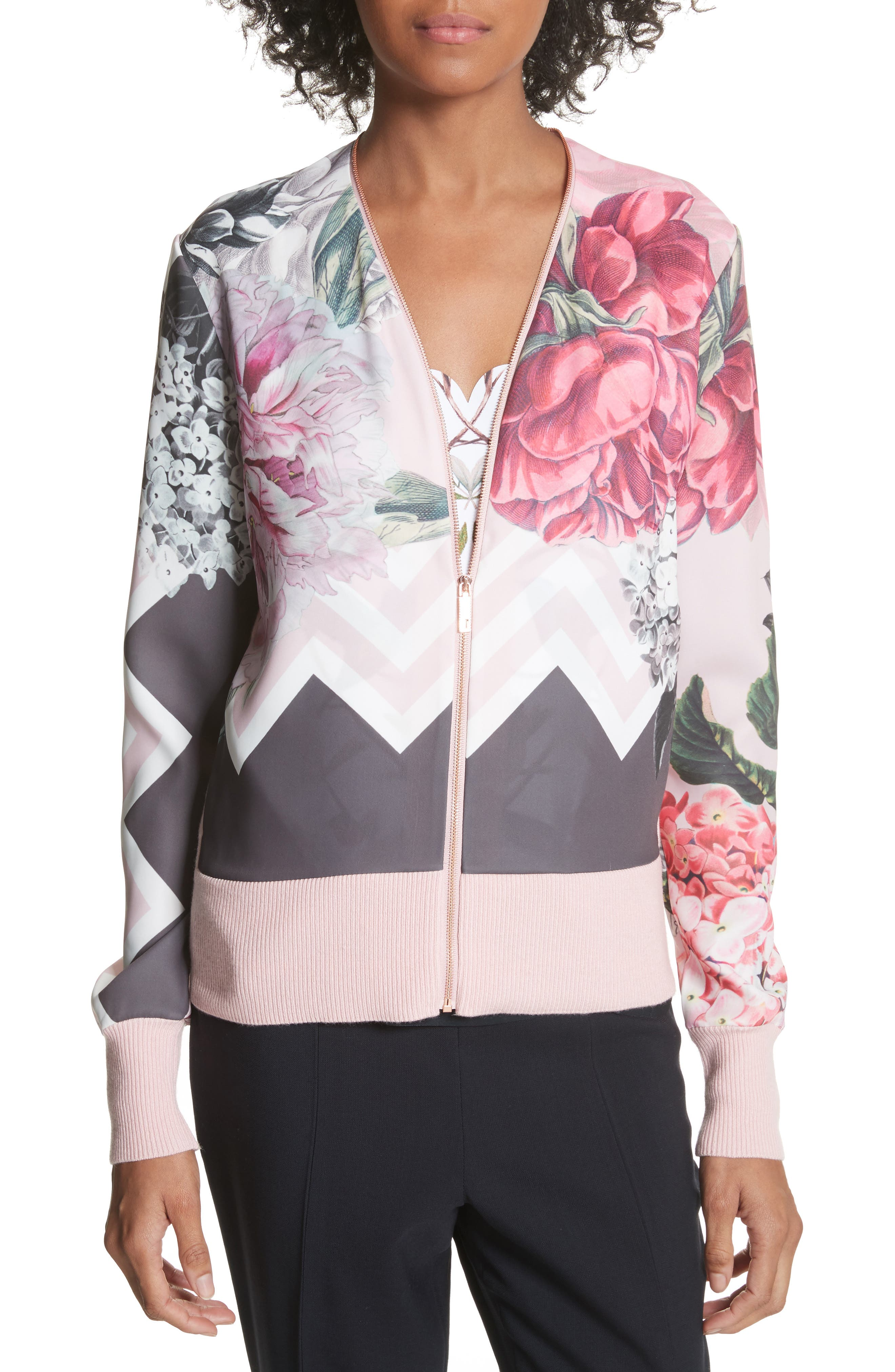 Ted Baker London Palace Gardens Zip-Up Cardigan