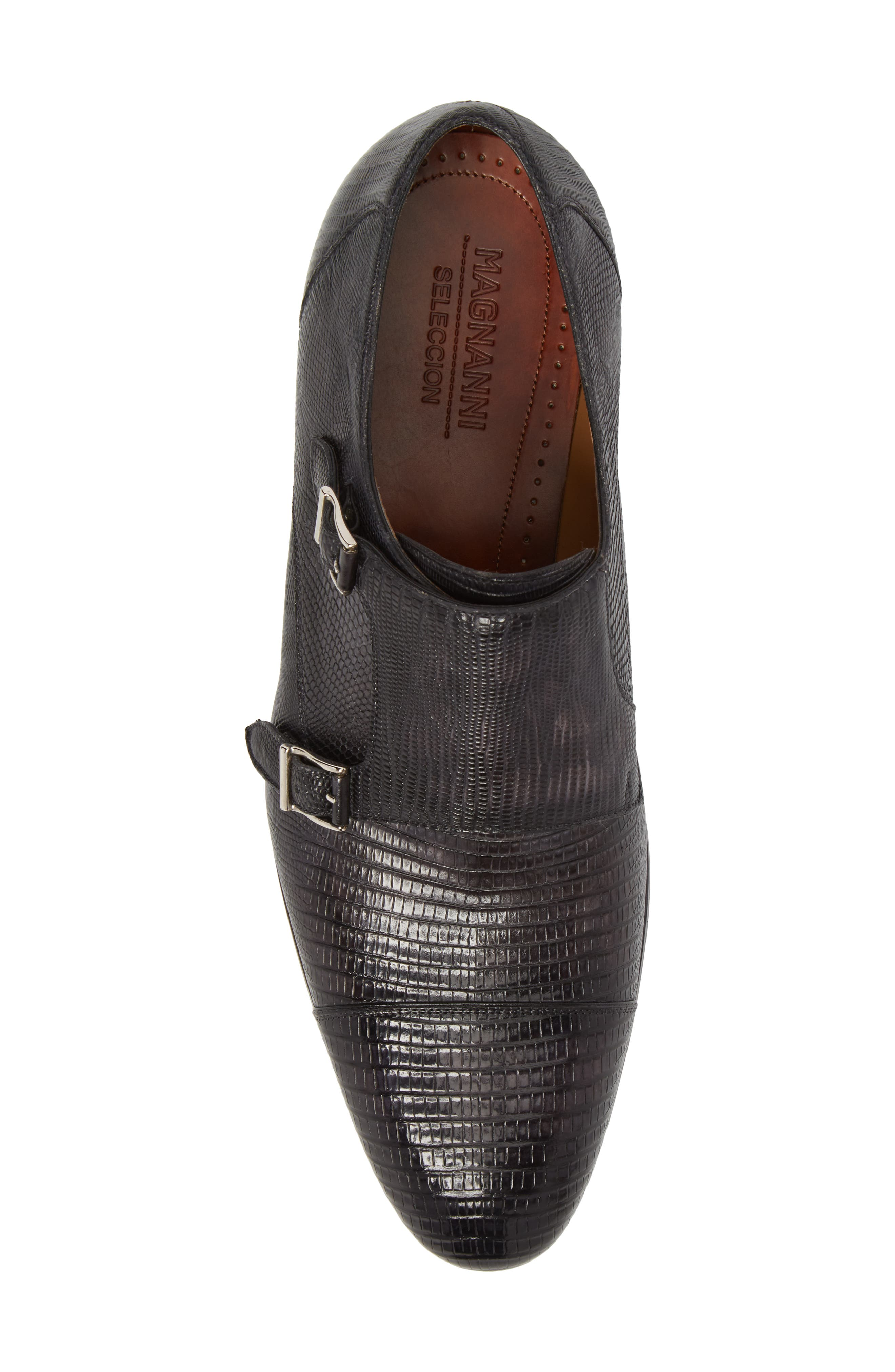 Pavo Lizard Leather Monk Shoe,                             Alternate thumbnail 5, color,                             Grey Leather
