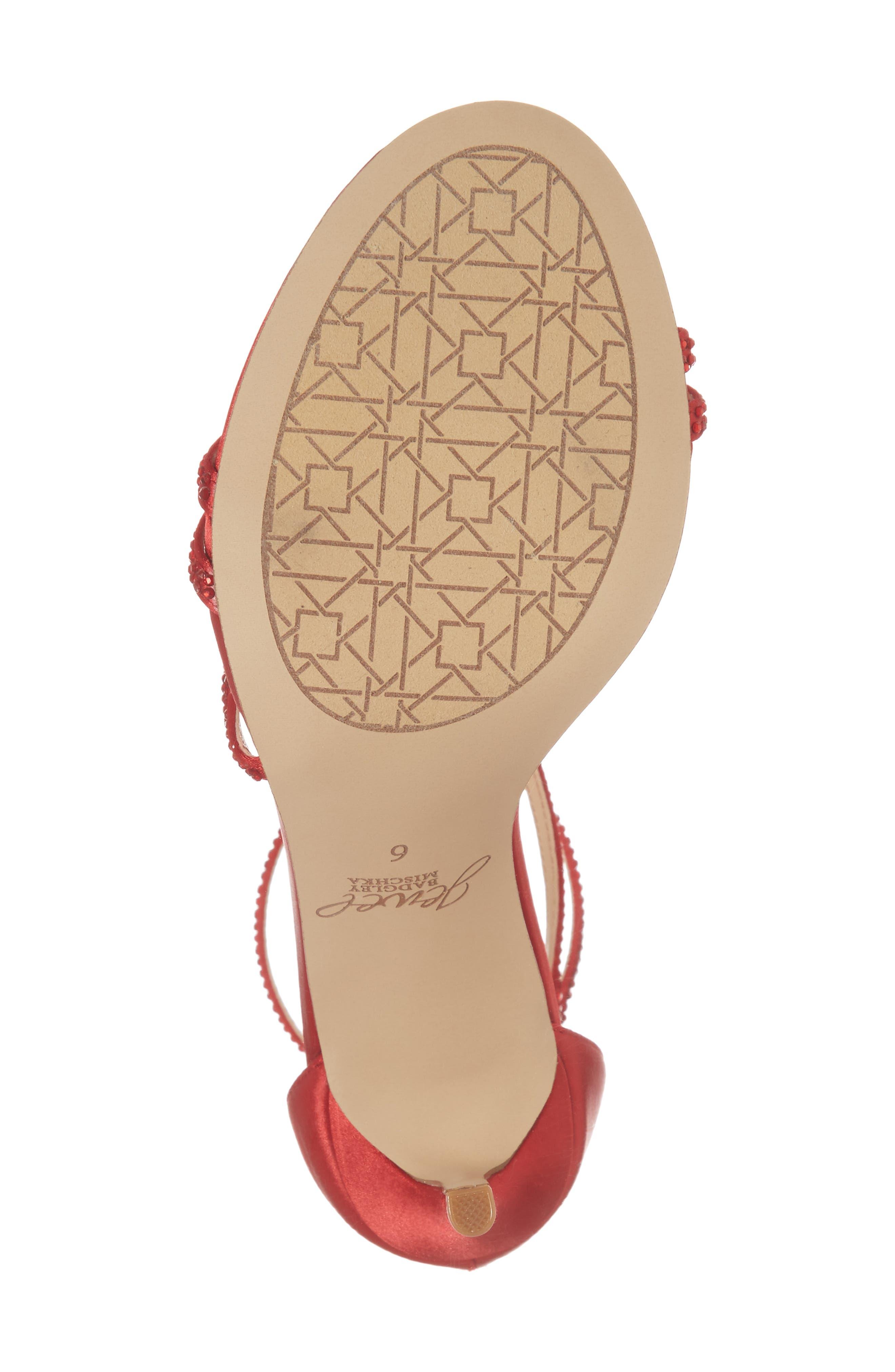 Gail Crystal Embellished Sandal,                             Alternate thumbnail 6, color,                             Red Satin