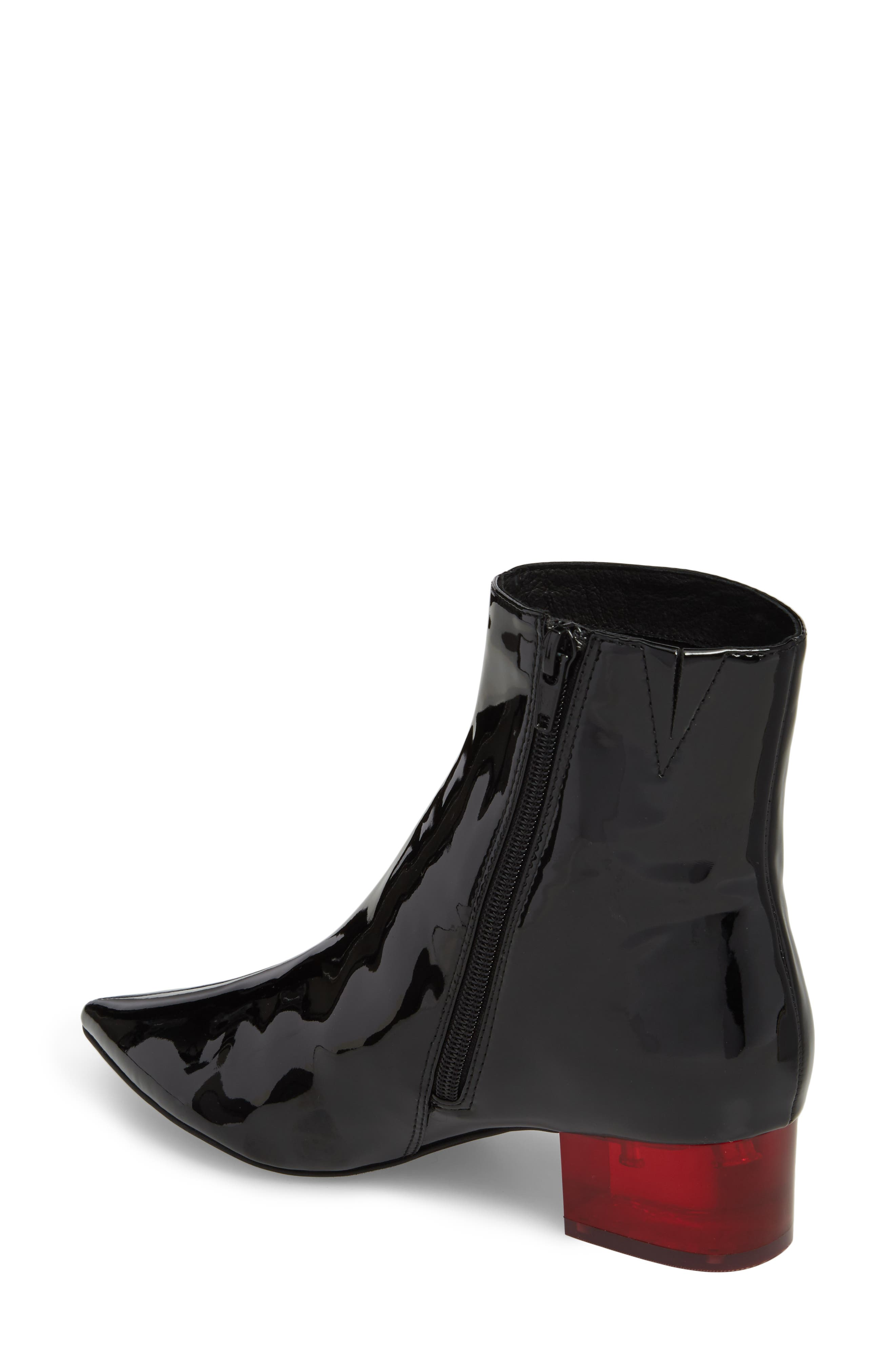 Luminous Statement Heel Bootie,                             Alternate thumbnail 2, color,                             Black/ Red Patent Leather