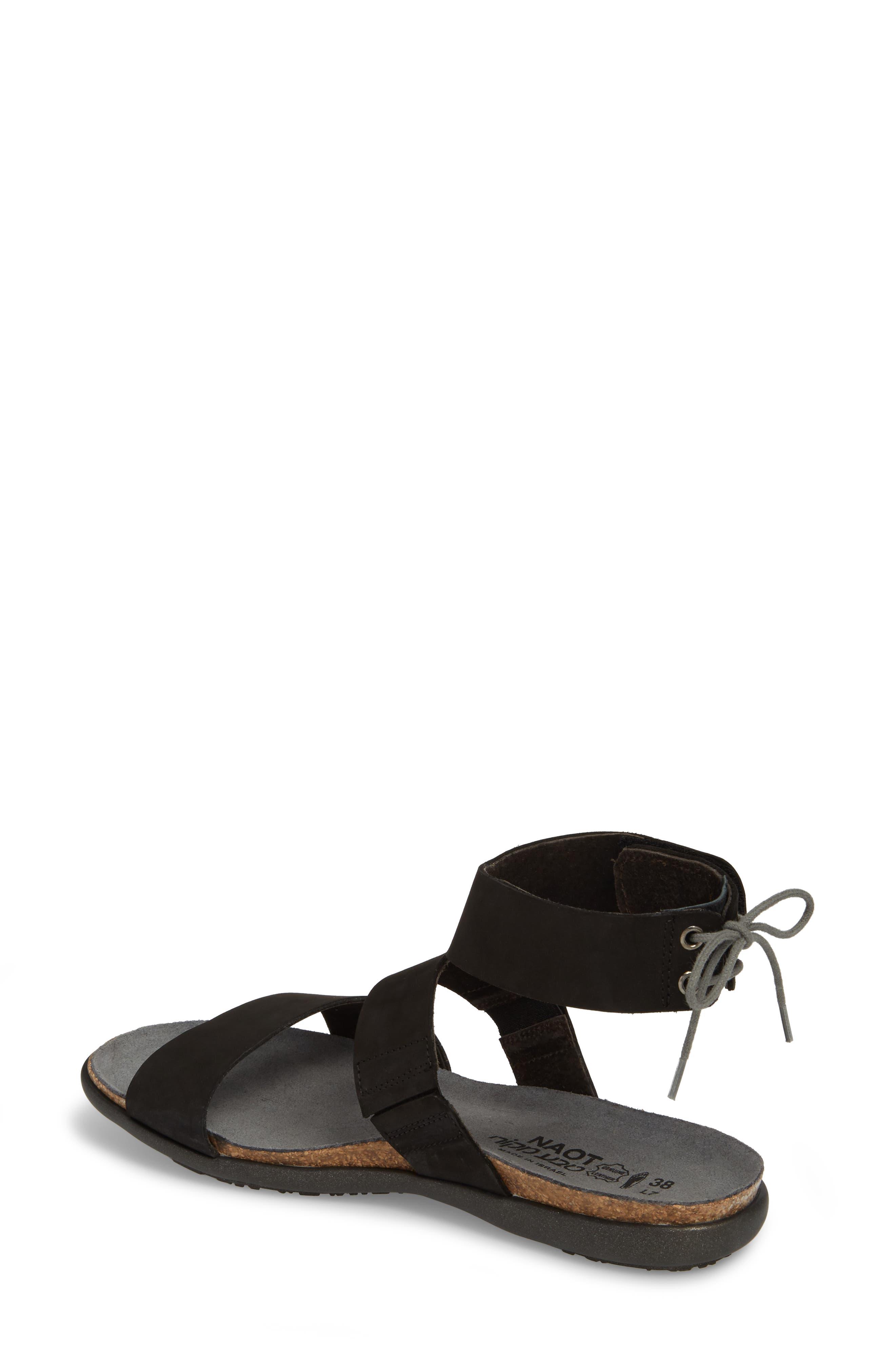 Larissa Ankle Strap Sandal,                             Alternate thumbnail 2, color,                             Black Velvet Nubuck