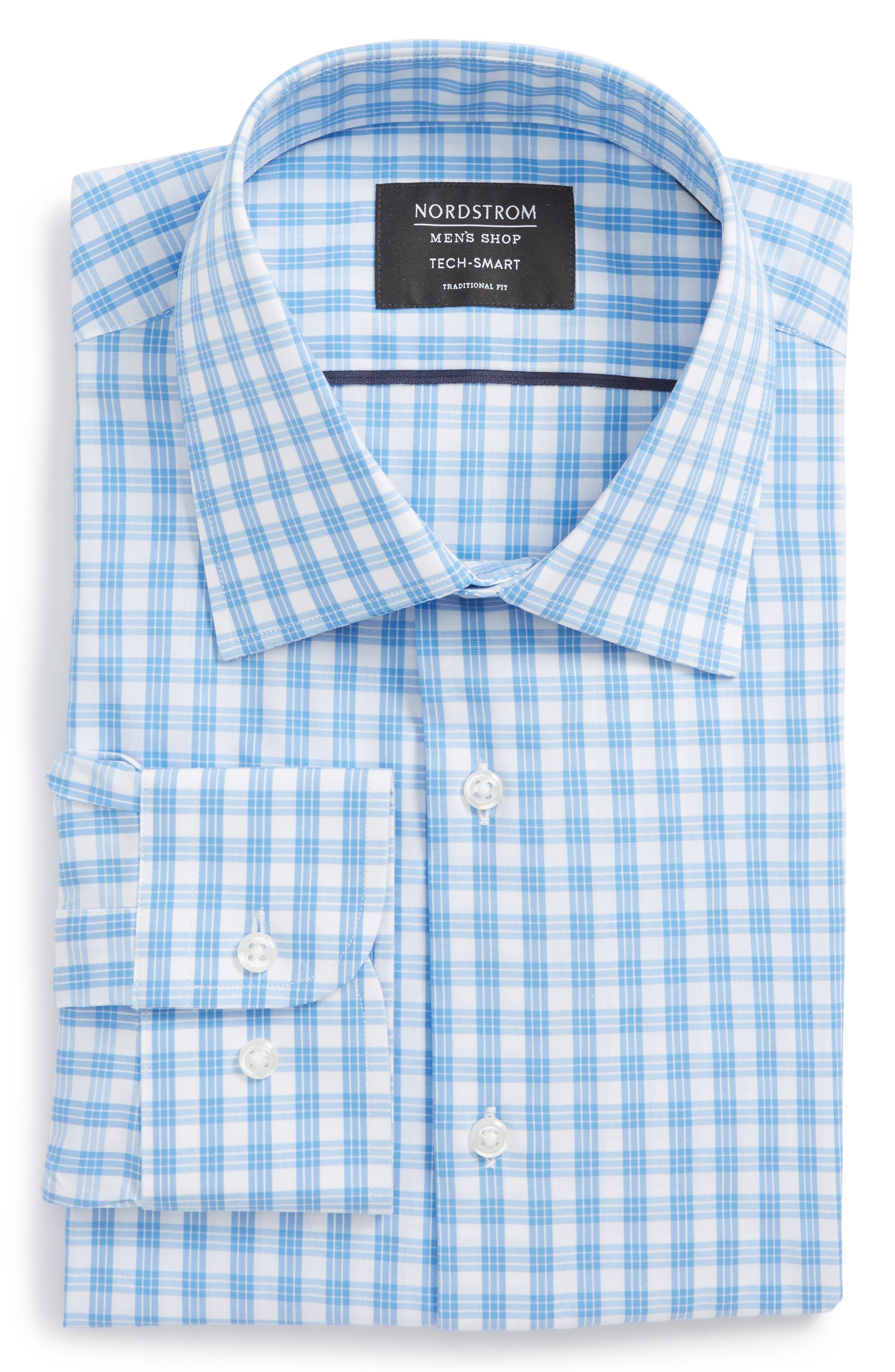 Tech Smart Traditional Fit Stretch Check Dress Shirt,                             Alternate thumbnail 6, color,                             Blue Lake