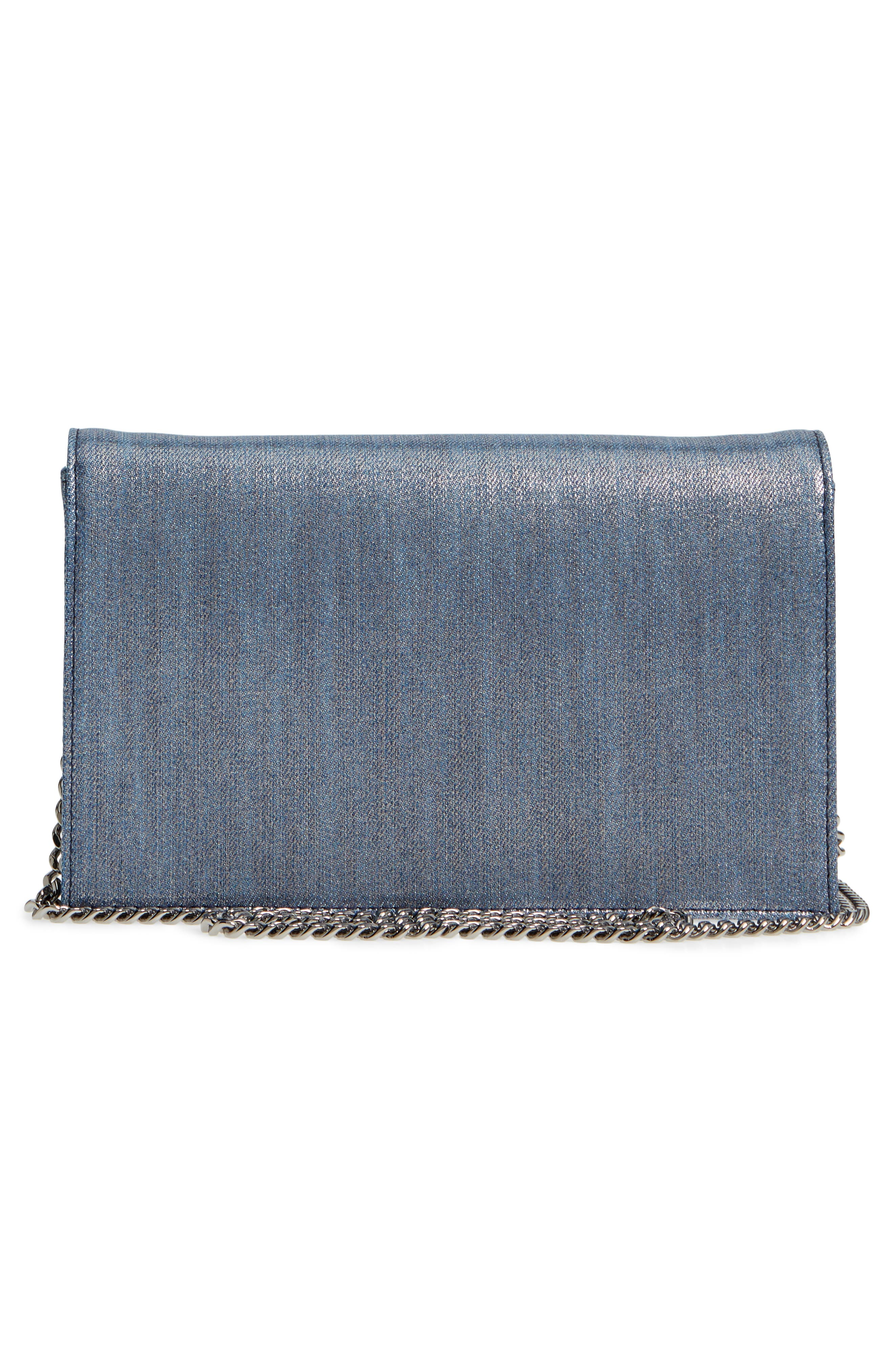 Florence Metallic Denim Glitter Clutch,                             Alternate thumbnail 3, color,                             Dusk Blue