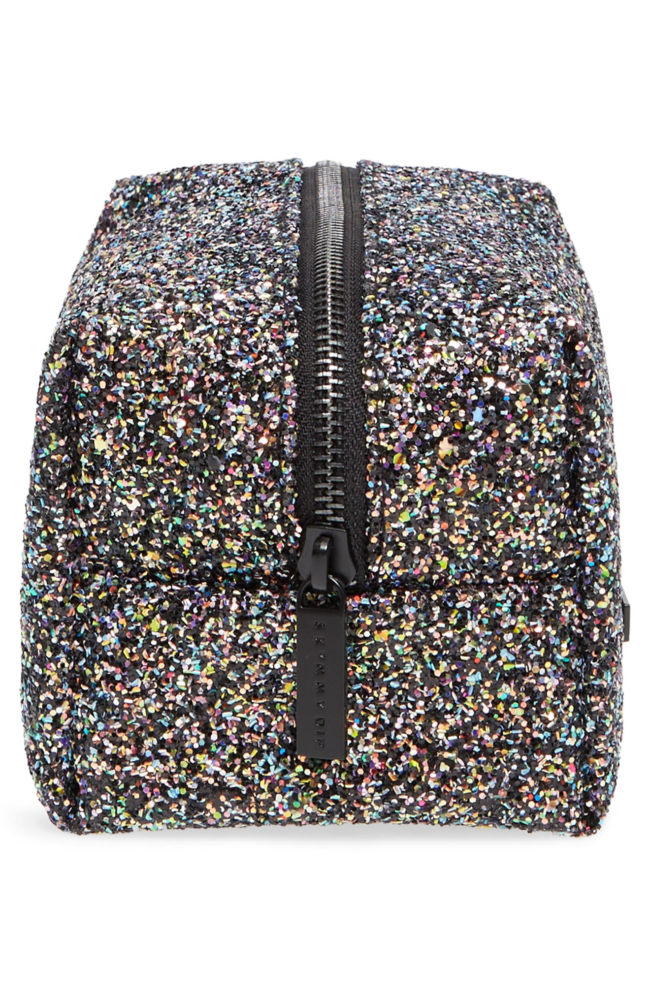 Skinny Dip Liquorice Glitter Cosmetics Bag,                             Alternate thumbnail 4, color,                             No Color