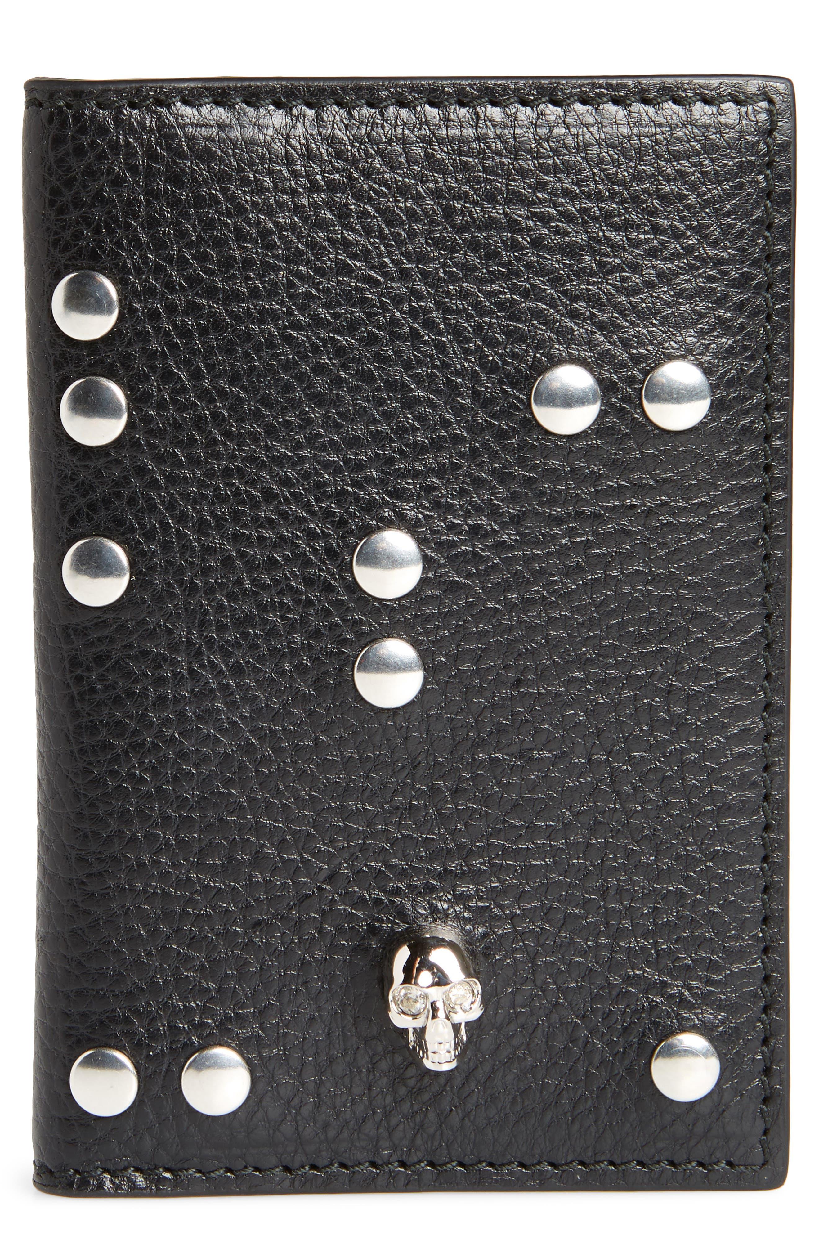 Studded Leather Card Holder,                         Main,                         color, Black