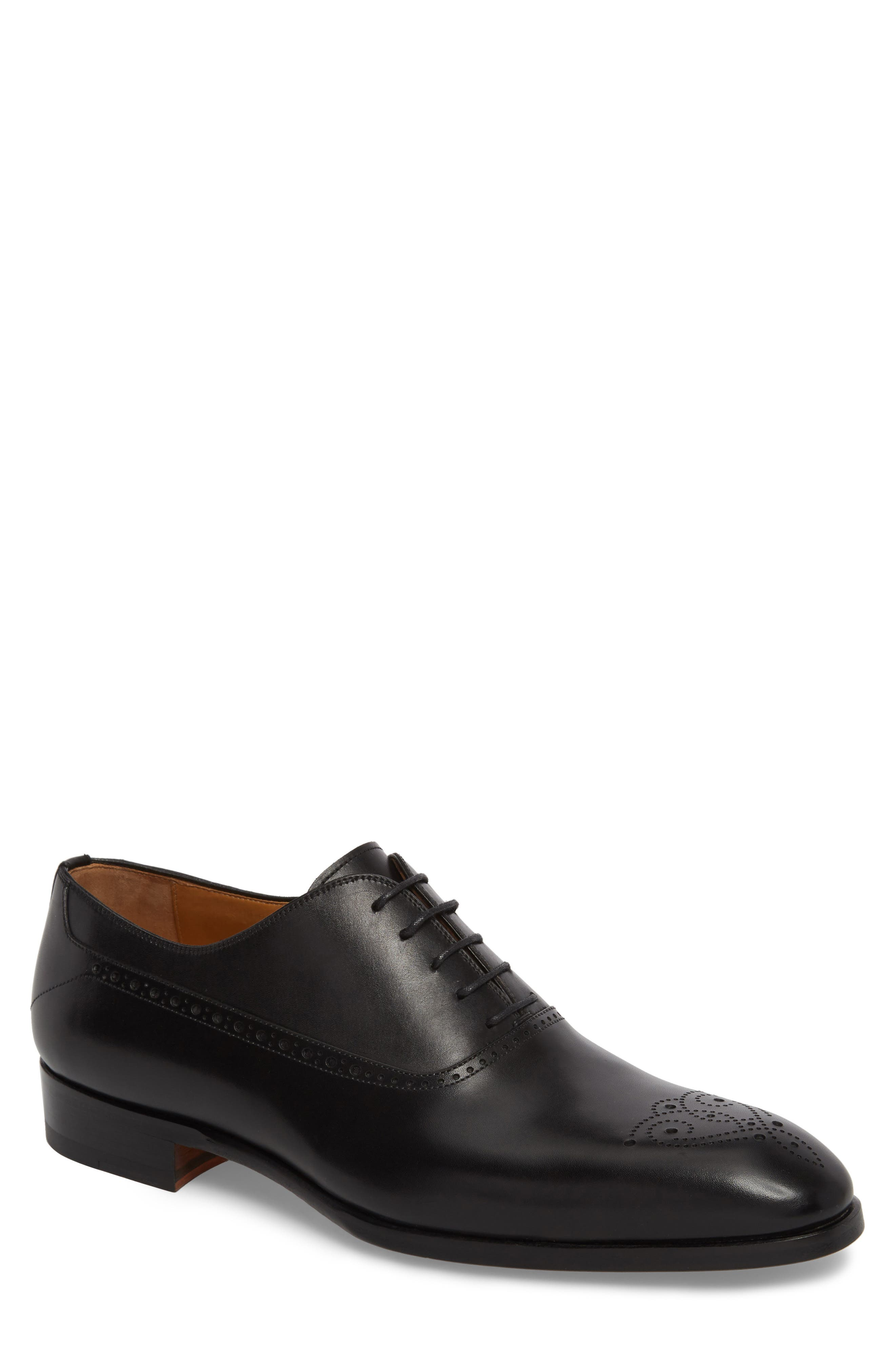 Manolo Medallion Toe Oxford,                             Main thumbnail 1, color,                             Black Leather