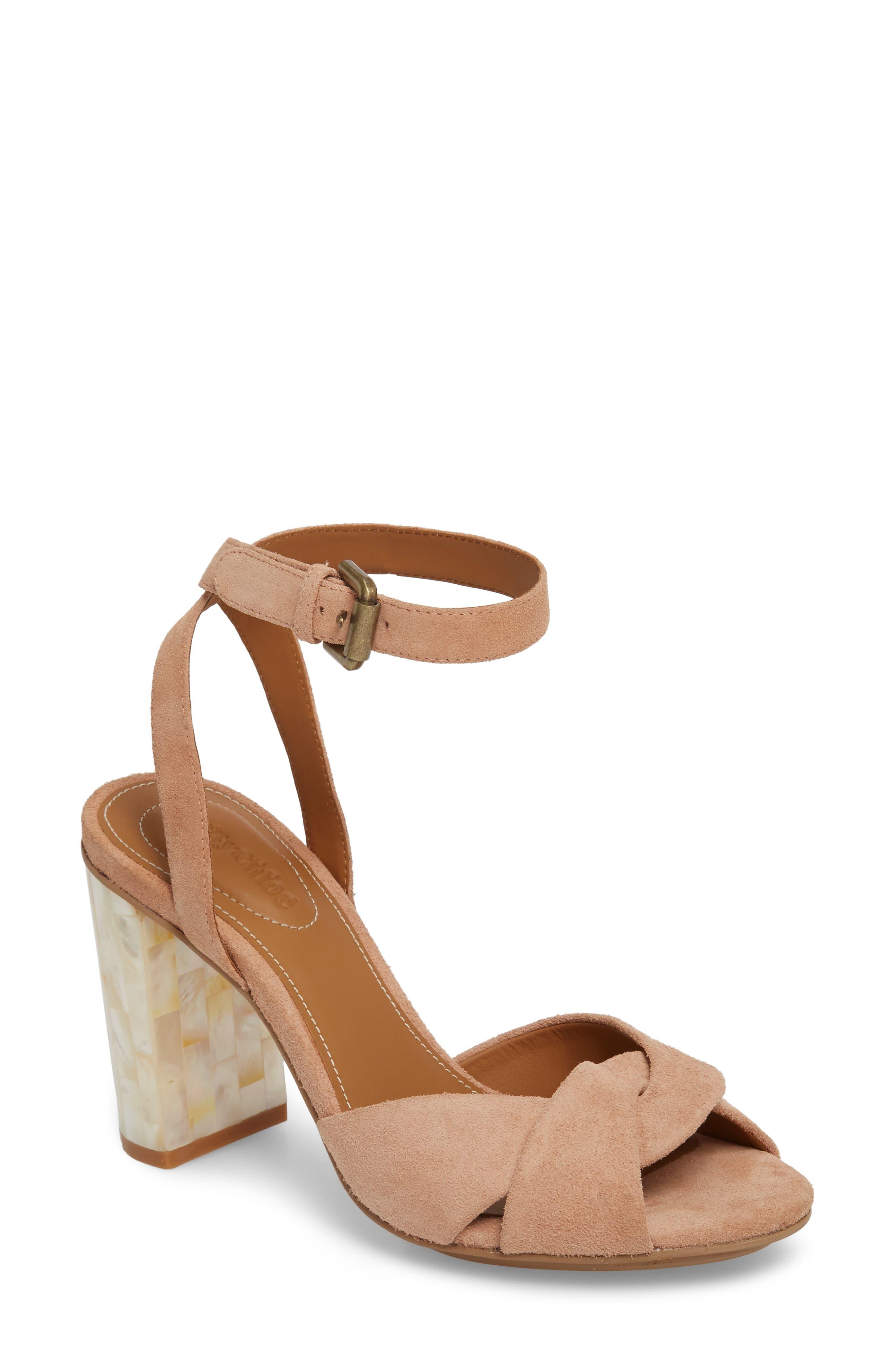 Isida Block Heel Sandal,                         Main,                         color, Cipria