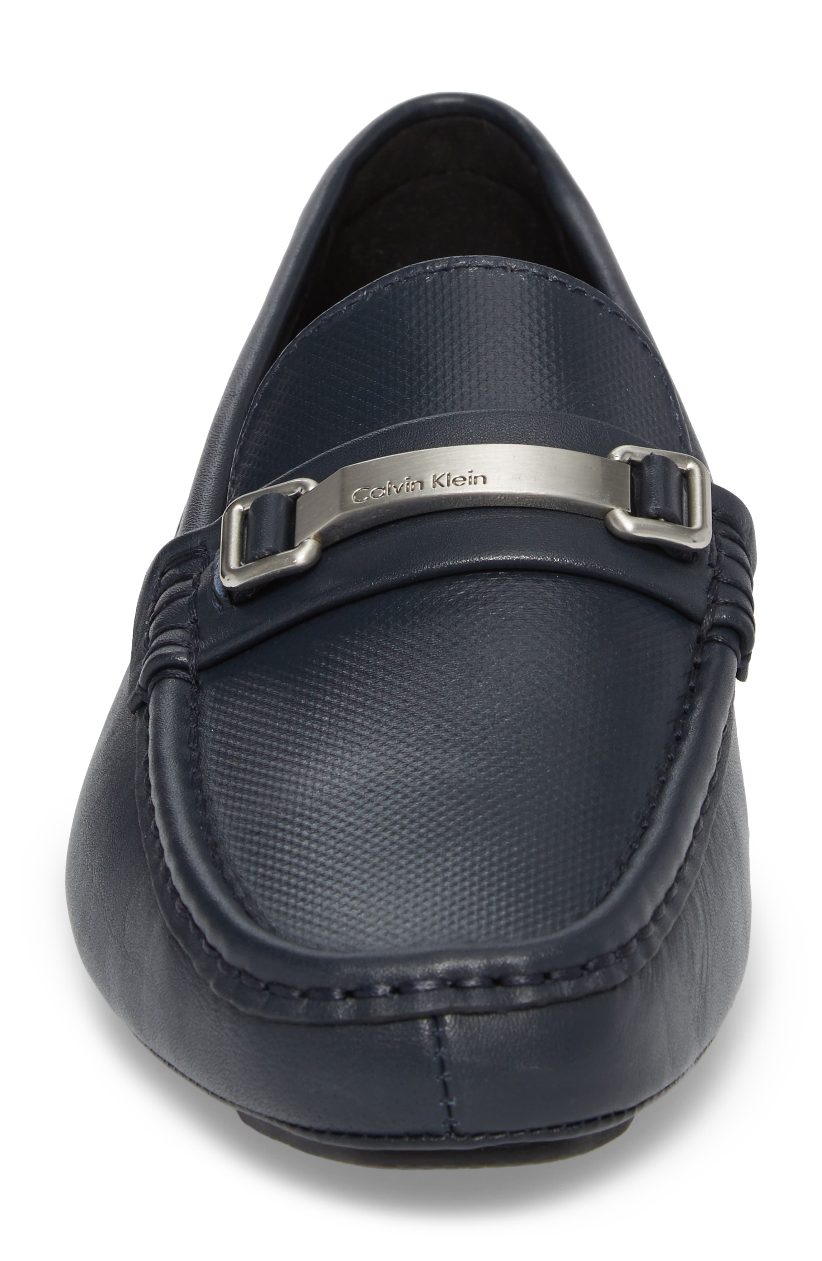 Maddix Textured Driving Moccasin,                             Alternate thumbnail 4, color,                             Dark Navy Leather