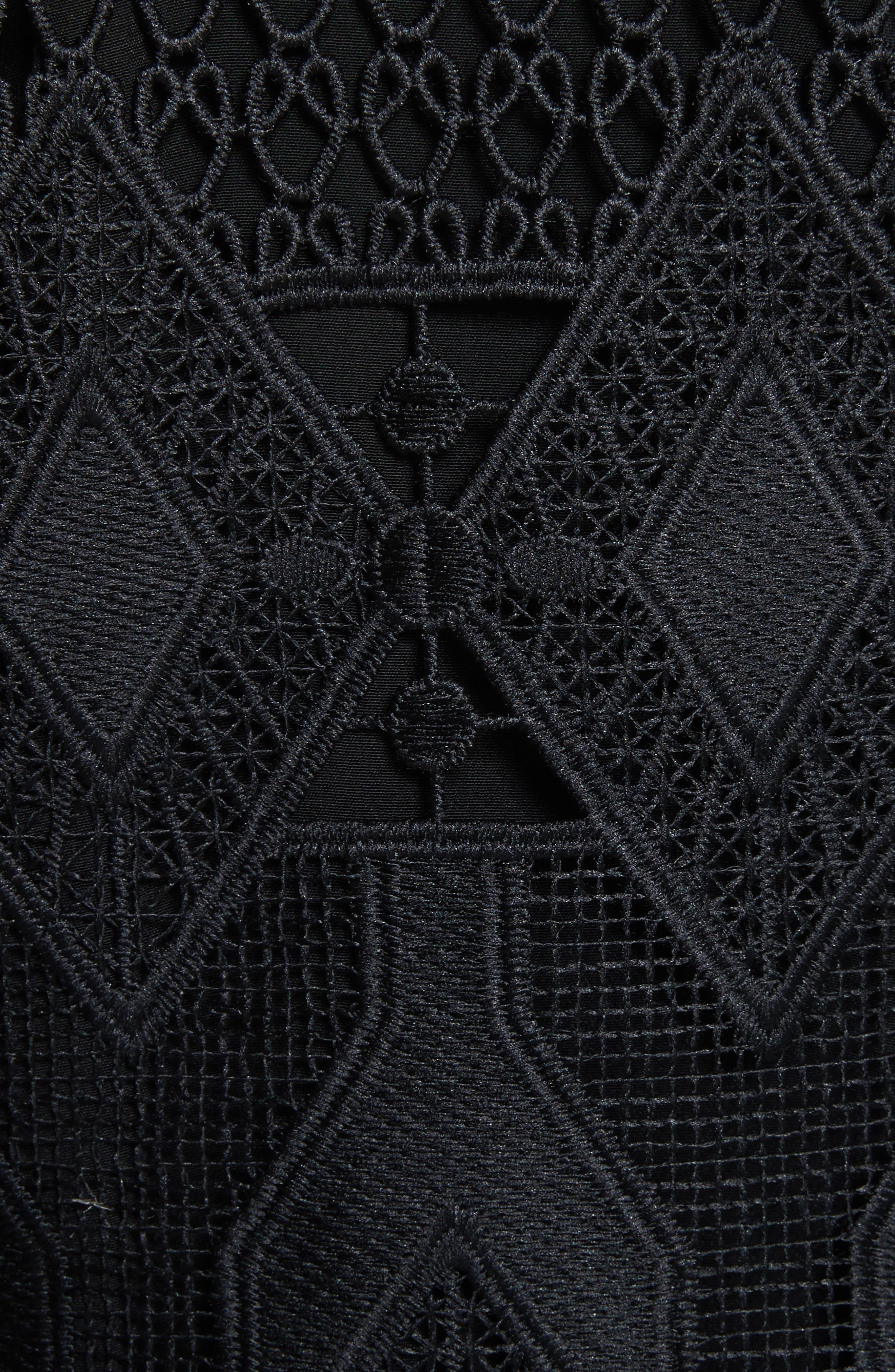 Crop Lace Jacket,                             Alternate thumbnail 5, color,                             Black