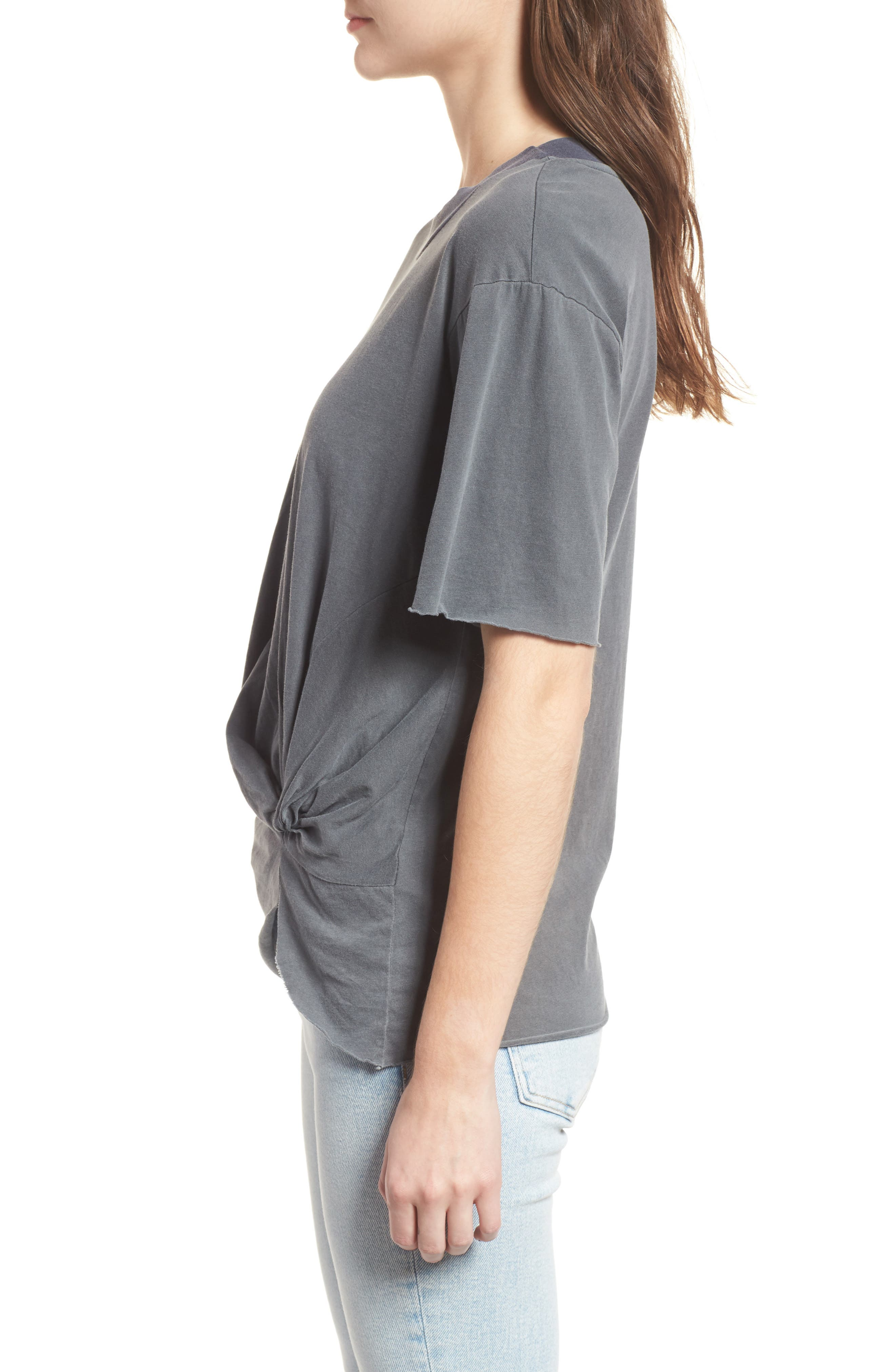 Twist Hem Brushed Jersey Tee,                             Alternate thumbnail 3, color,                             Charcoal